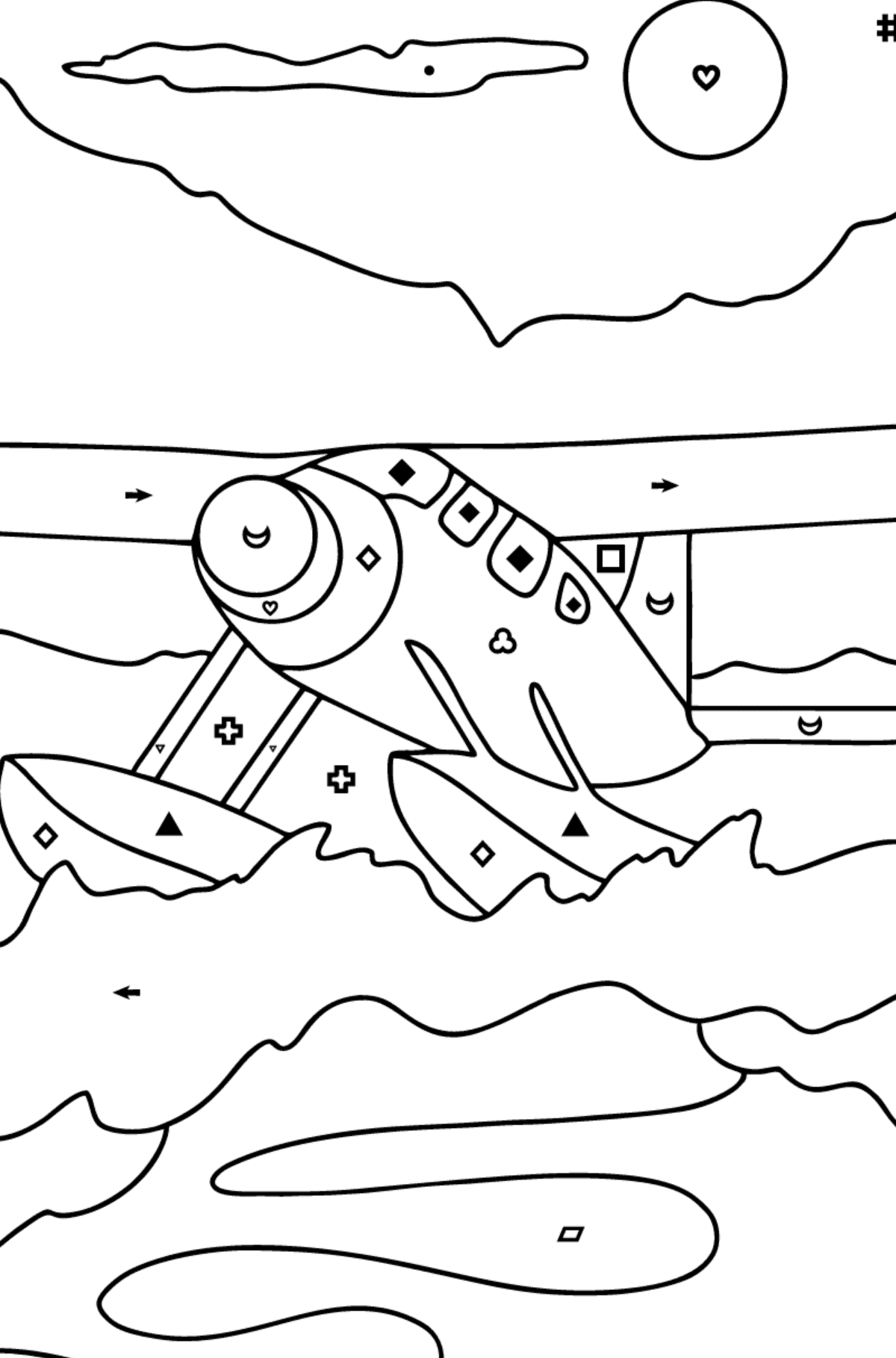 Coloring Page - A Hydroplane - Coloring by Symbols and Geometric Shapes for Kids