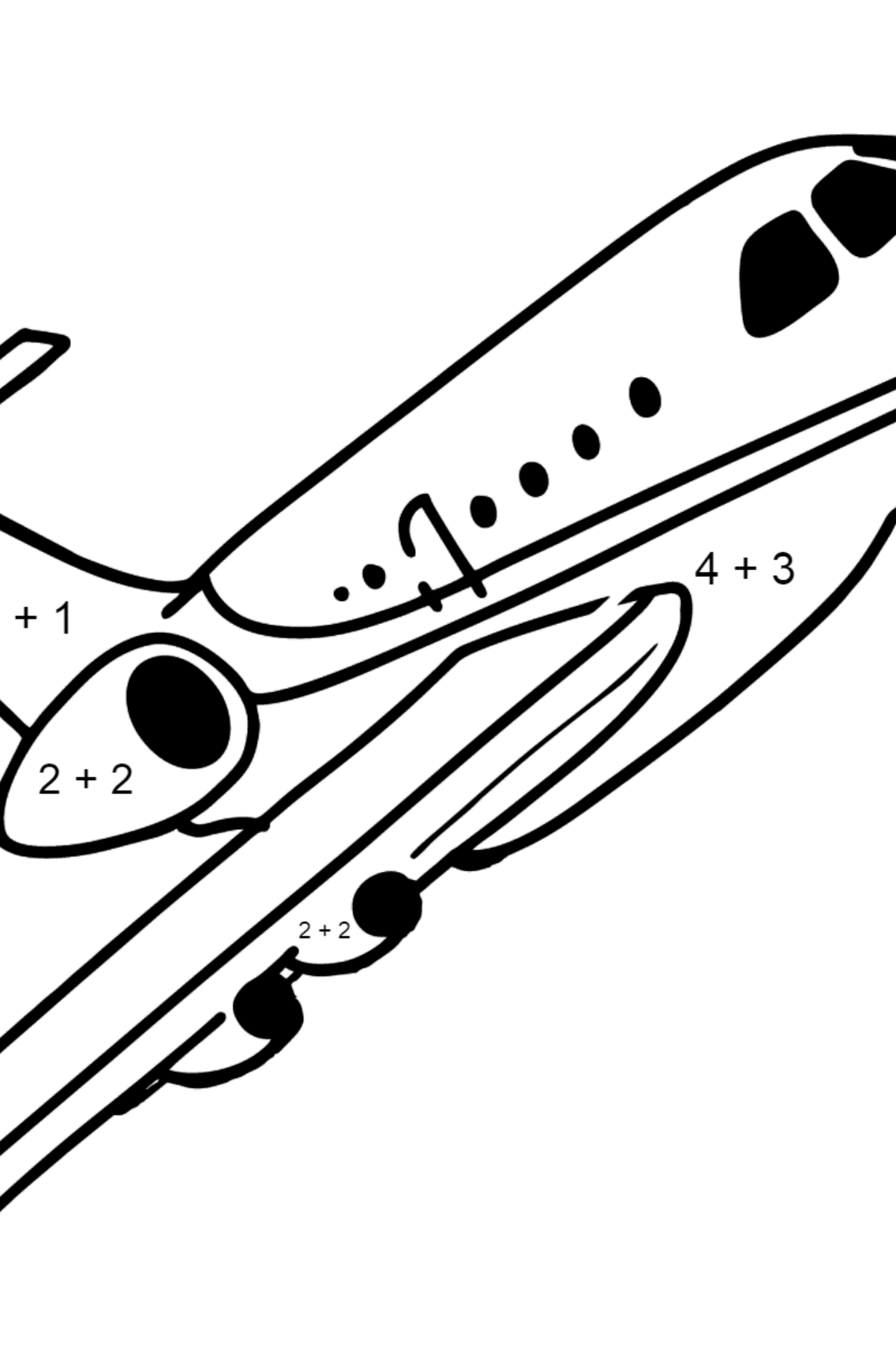 Airbus Airplane coloring page - Math Coloring - Addition for Kids
