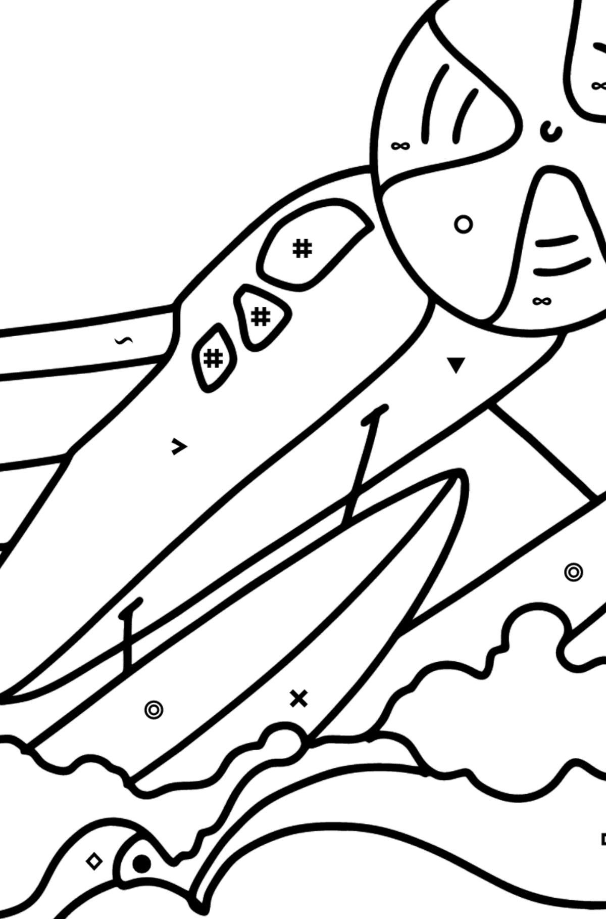 Amphibious Airplane coloring page - Coloring by Symbols and Geometric Shapes for Kids