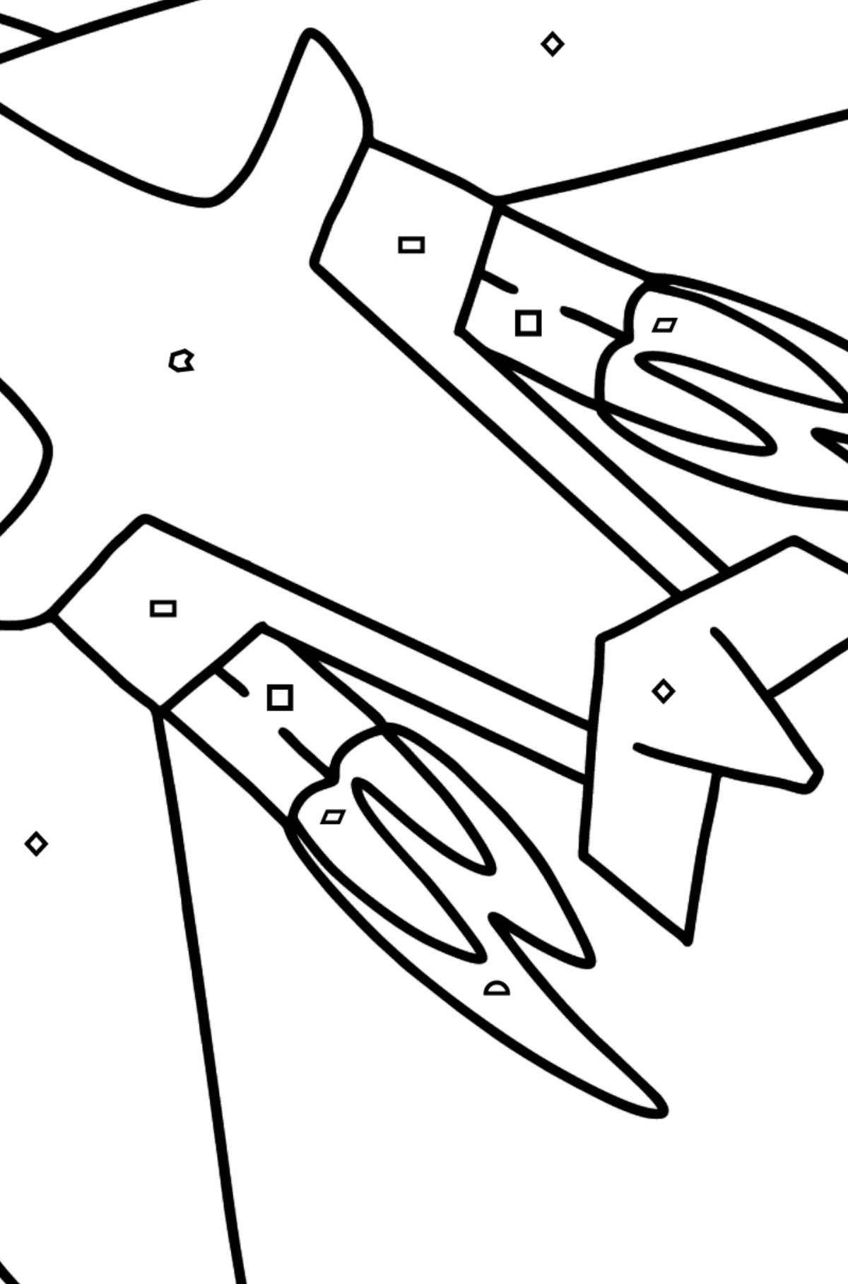 Airplane Tu-160 (White Swan) coloring page - Coloring by Geometric Shapes for Kids