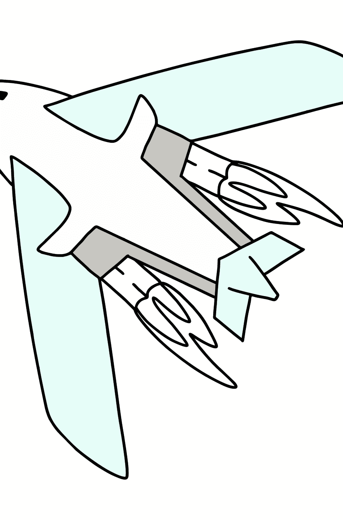 Airplane Tu-160 (White Swan) coloring page - Coloring Pages for Kids