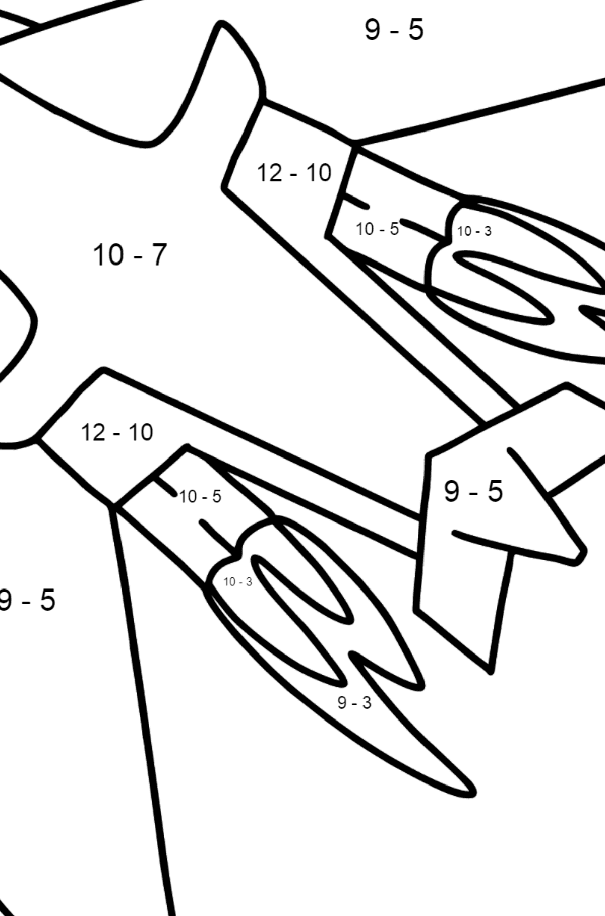 Airplane Tu-160 (White Swan) coloring page - Math Coloring - Subtraction for Kids