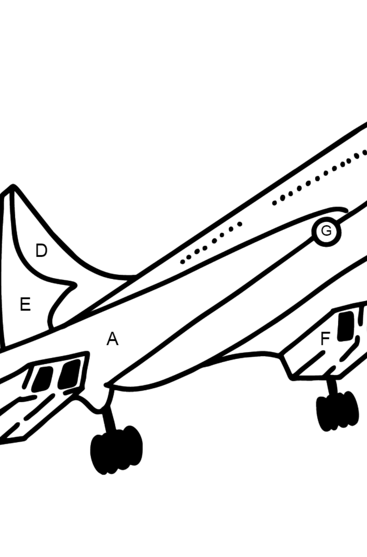 Concorde coloring page - Coloring by Letters for Kids