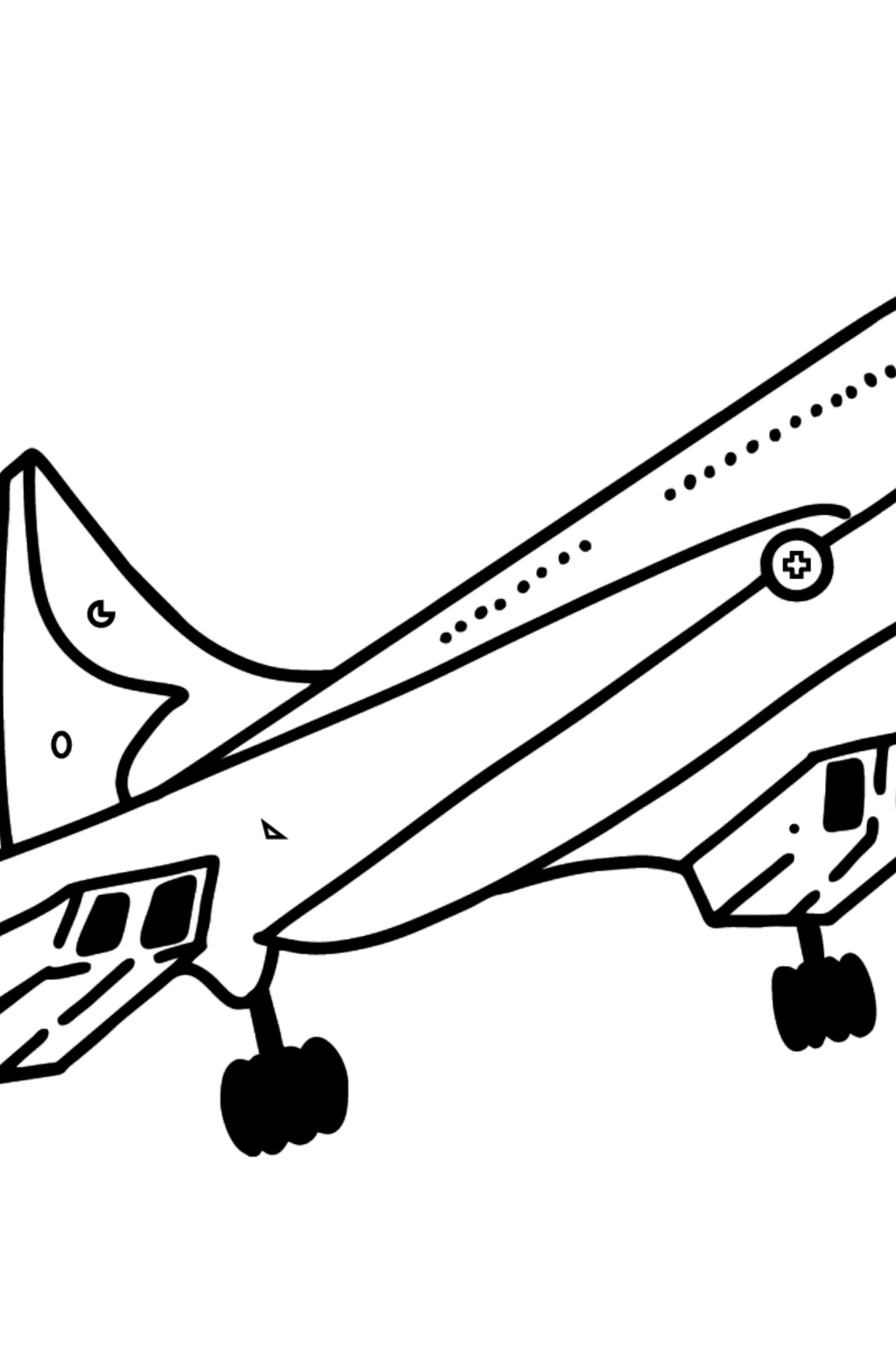 Concorde coloring page - Coloring by Symbols and Geometric Shapes for Kids