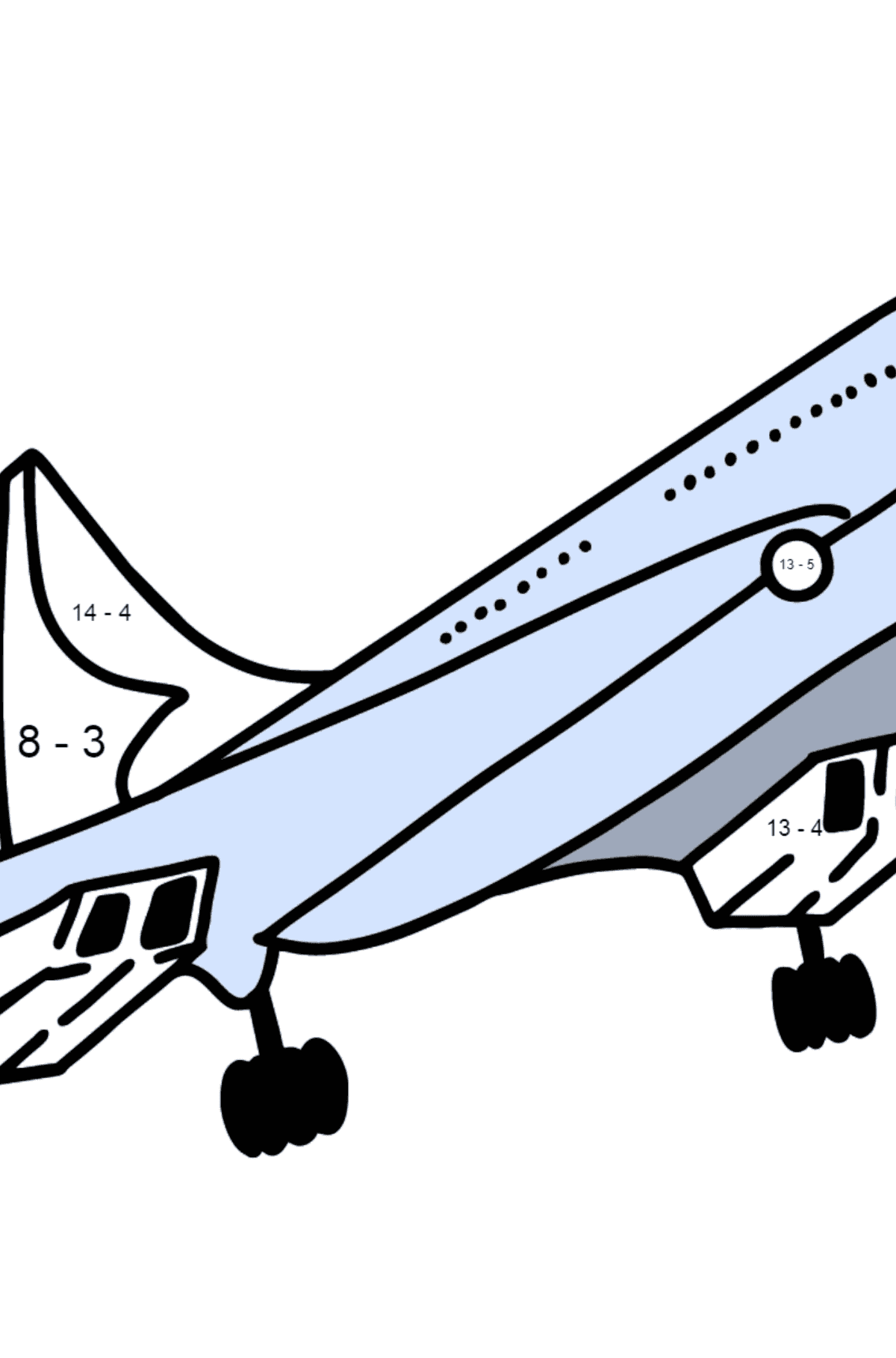 Concorde coloring page - Math Coloring - Subtraction for Kids