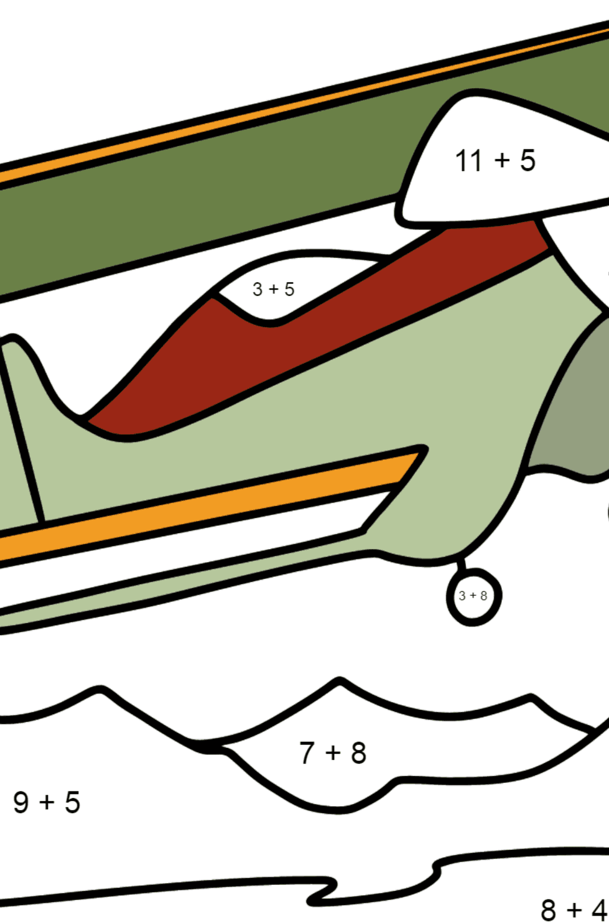 Coloring page - Light Airplane flies Over Mountains - Math Coloring - Addition for Kids