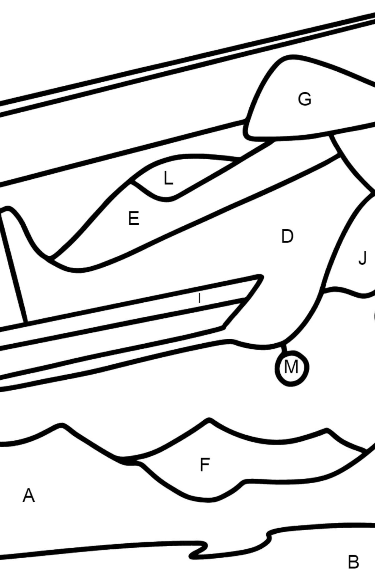 Coloring page - Light Airplane flies Over Mountains - Coloring by Letters for Kids