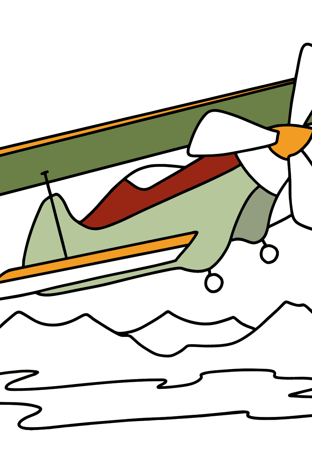 Coloring page - Light Airplane flies Over Mountains - Coloring Pages for Kids