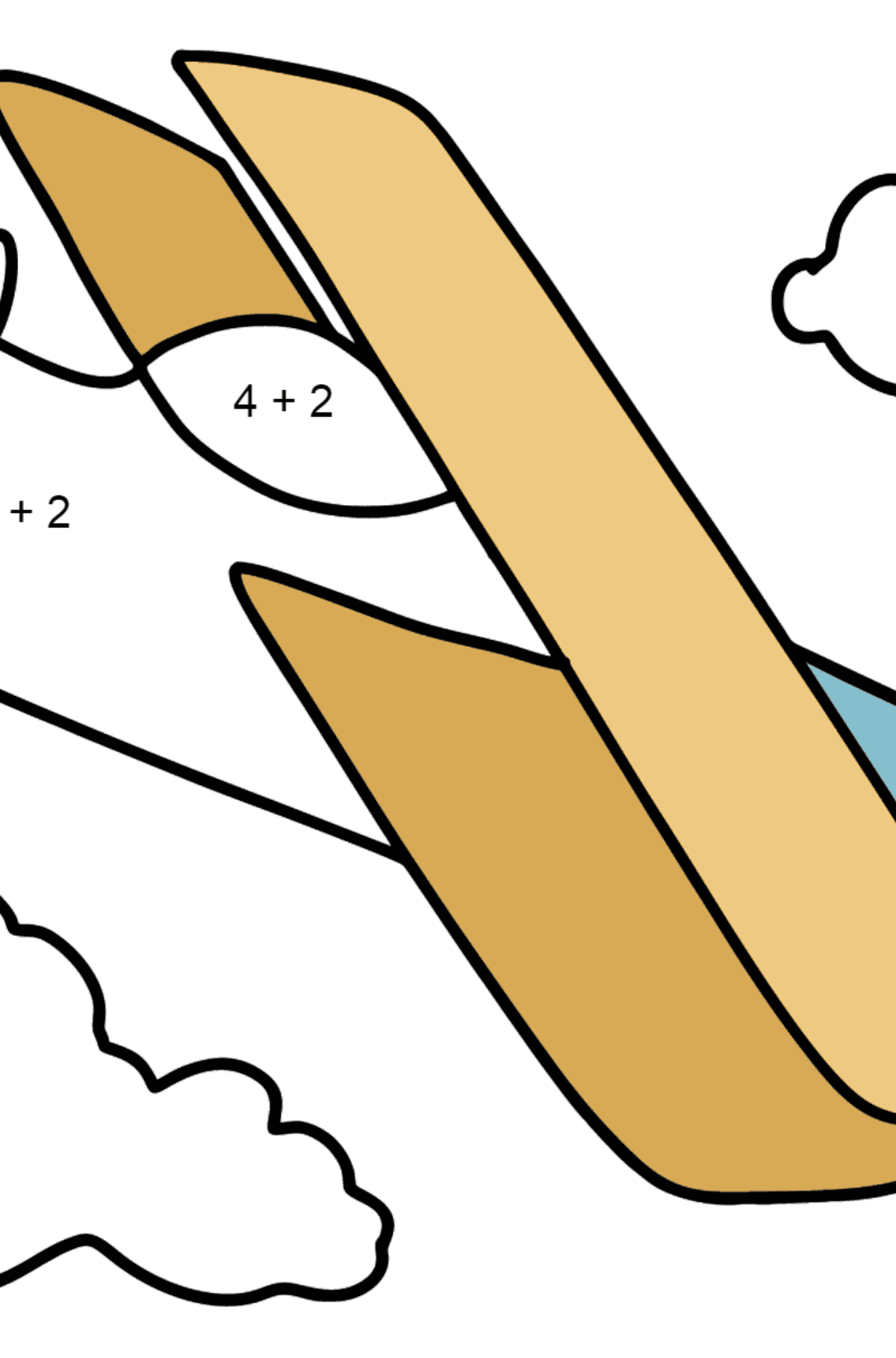 Simple Airplane coloring page - Math Coloring - Addition for Kids