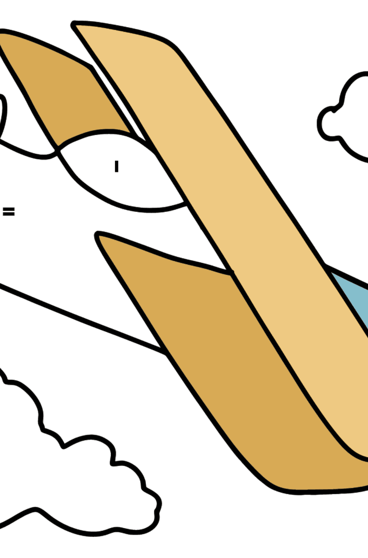 Simple Airplane coloring page - Coloring by Symbols and Geometric Shapes for Kids