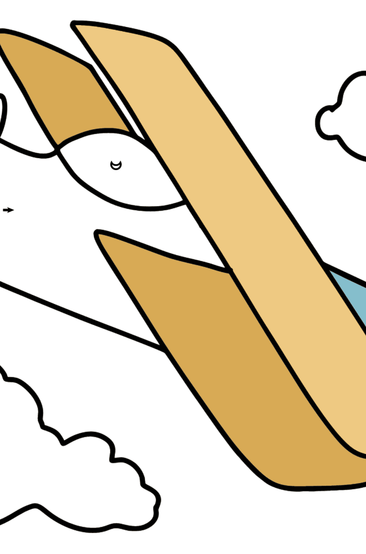 Simple Airplane coloring page - Coloring by Symbols for Kids