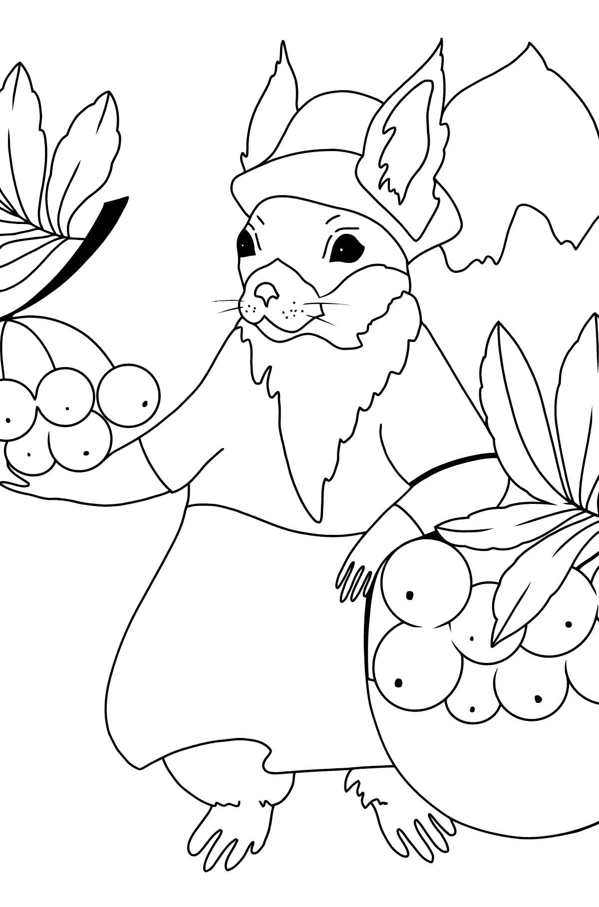 Autumn Coloring Page - A Squirrel with a Rowan for Kids