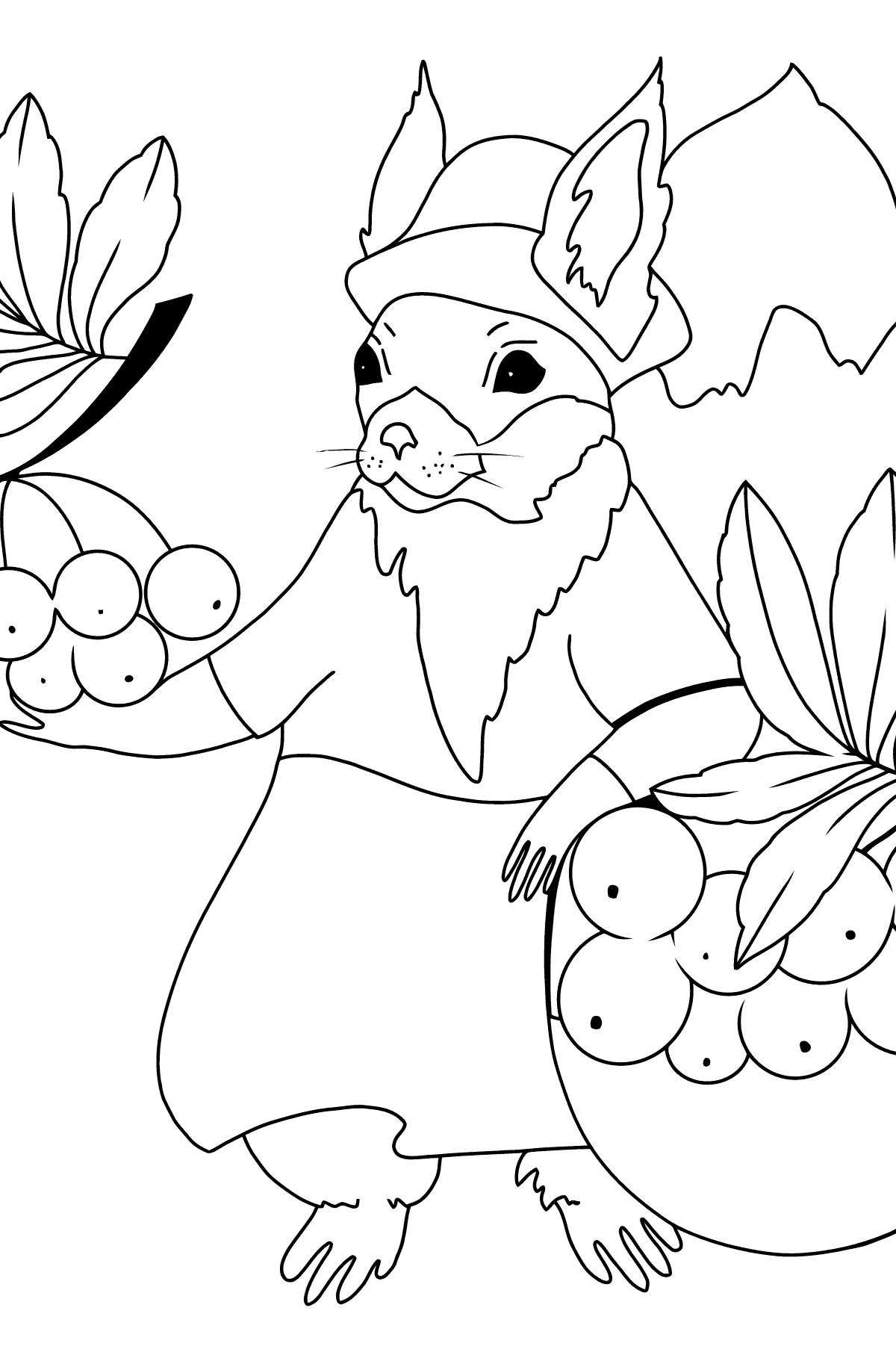 Раскраска осень - белочка с рябиной - Картинки для Детей