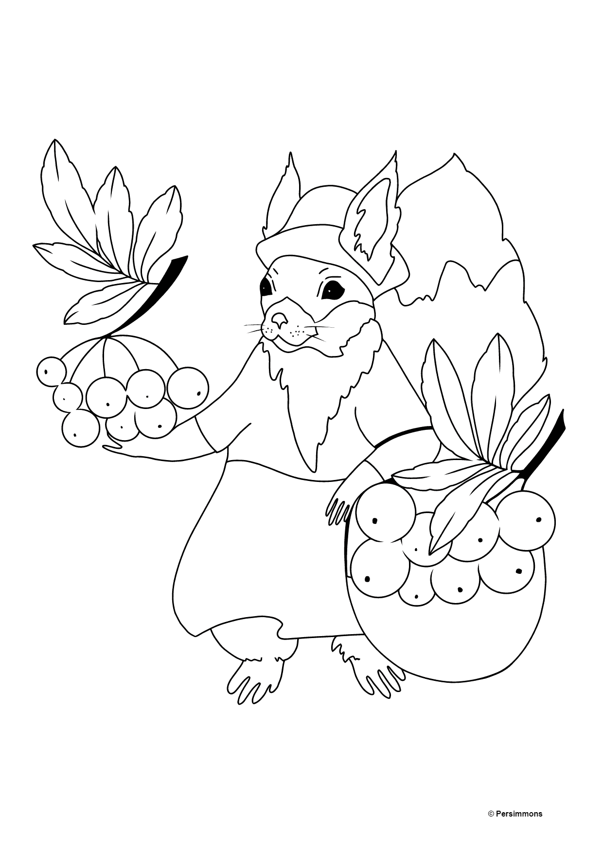 Autumn Coloring Page - A Squirrel with Red Rowanberries for Kids