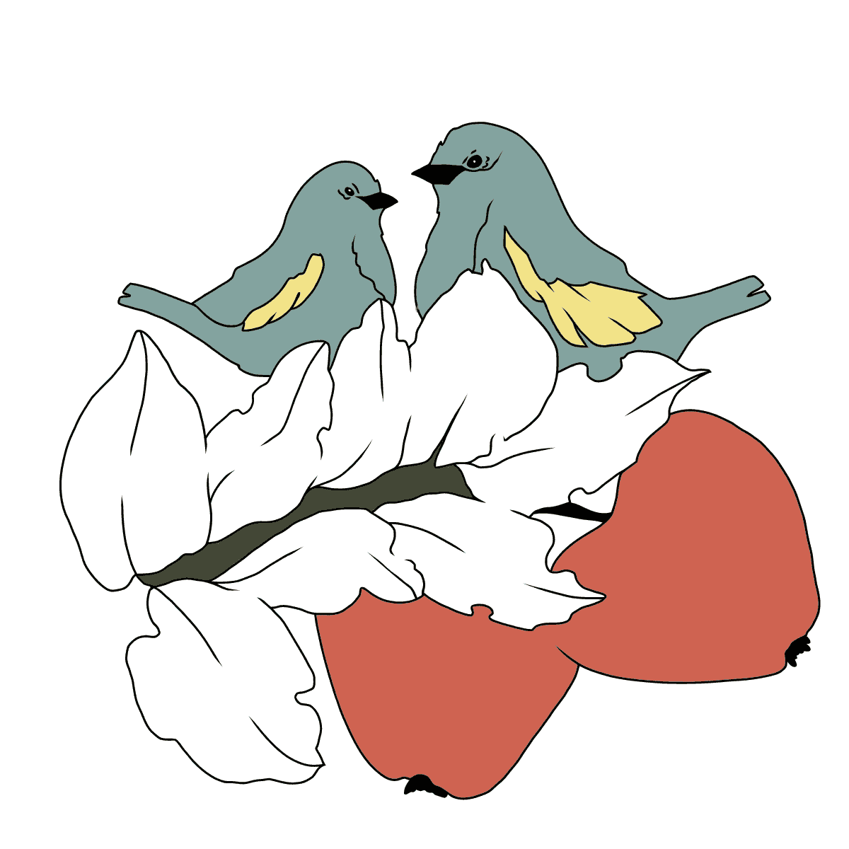 Autumn Coloring Page - Birds on the Branch of an Apple Tree