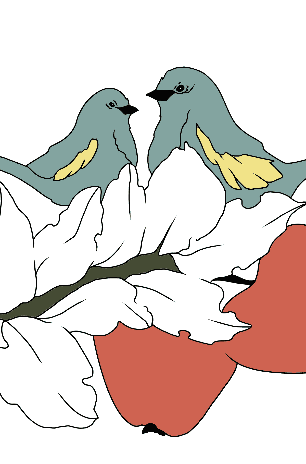 Autumn Coloring Page - Birds on the Branch of an Apple Tree - Coloring Pages for Children