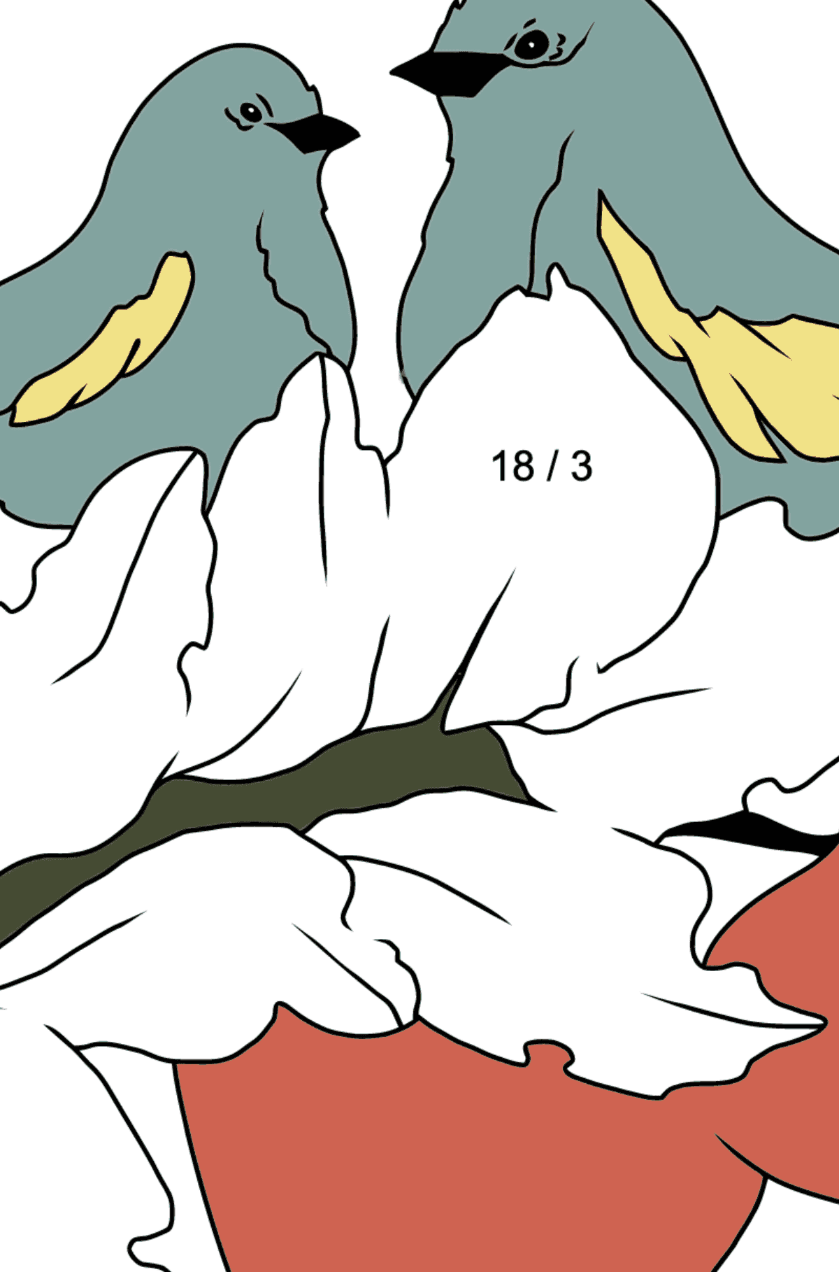 Autumn Coloring Page - Birds on the Branch of an Apple Tree - Math Coloring - Division for Children