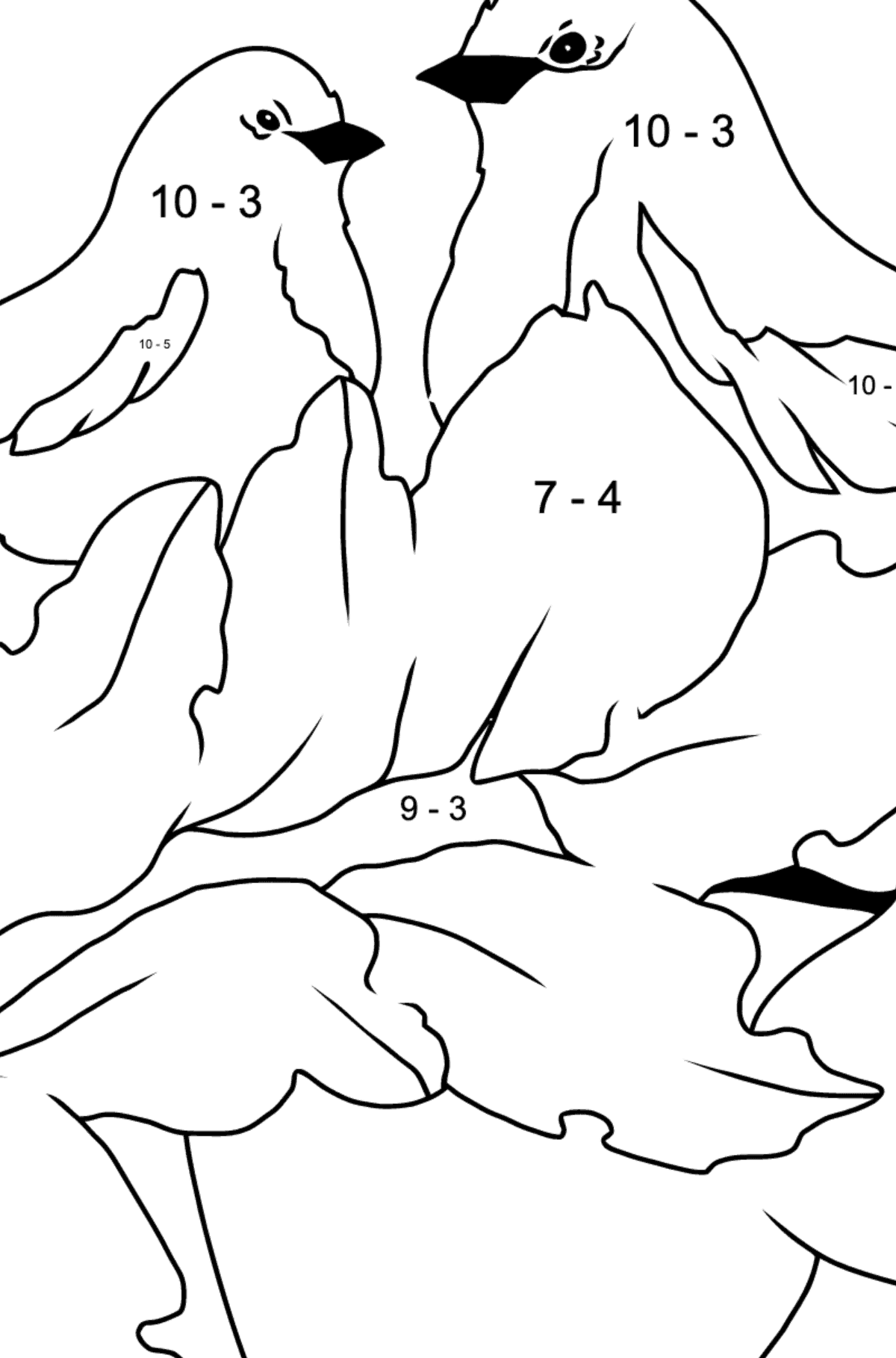 Autumn Coloring Page - Birds on the Branch of an Apple Tree - Math Coloring - Subtraction for Kids