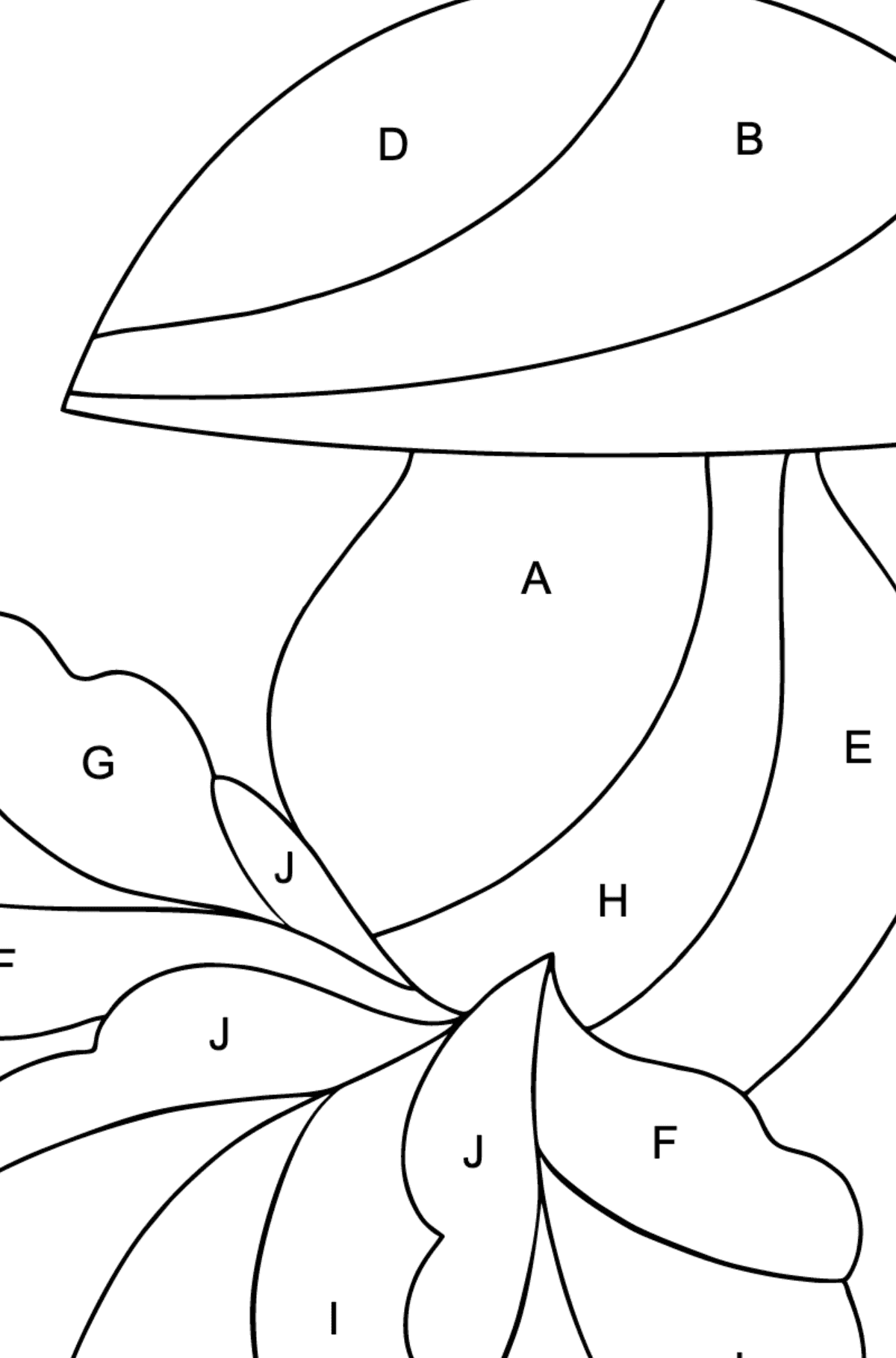 Autumn Coloring Page - Mushroom Harvest Time for Kids  - Color by Letters