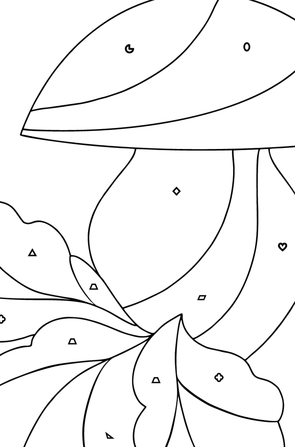 Autumn Coloring Page - Mushroom Harvest Time for Kids  - Color by Geometric Shapes