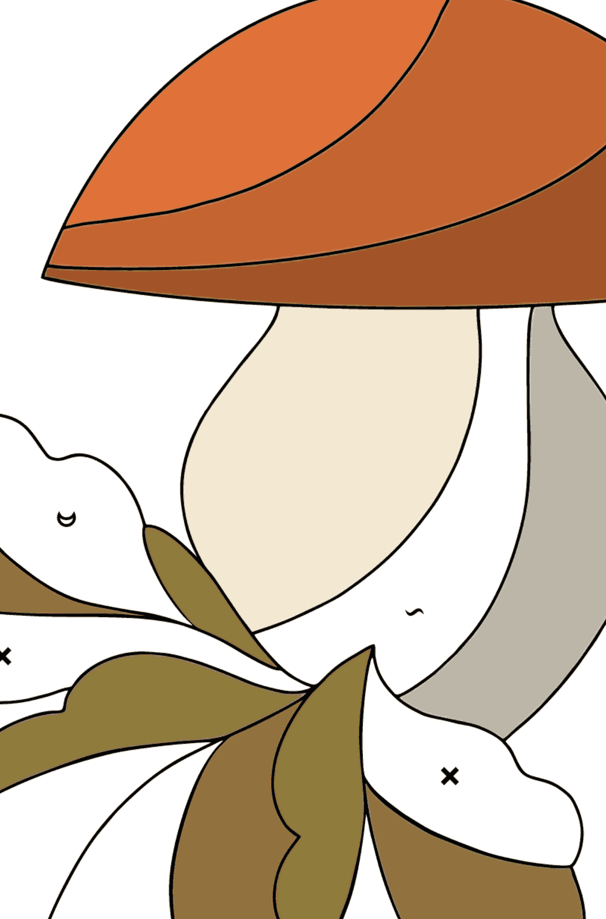 Autumn Coloring Page - Mushroom Harvest Time for Children  - Color by Special Symbols