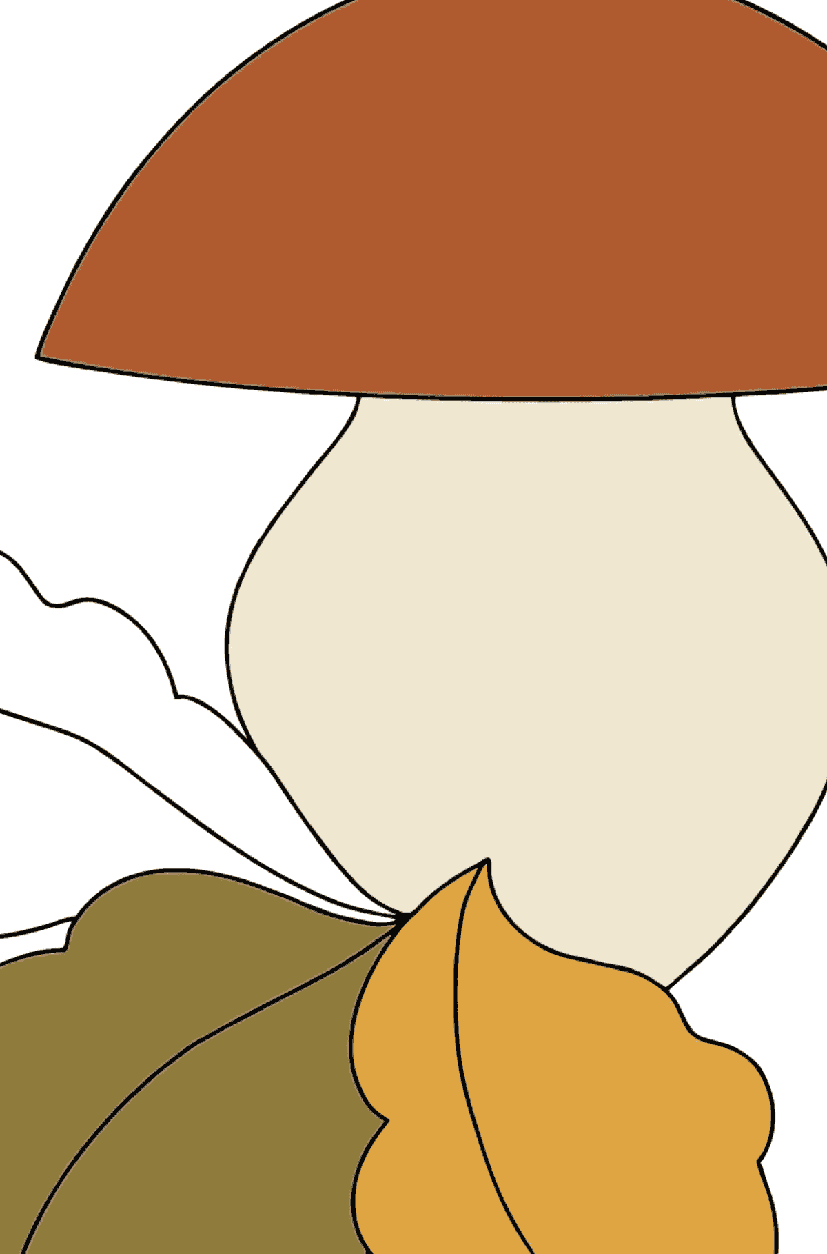 Autumn Coloring Page - Mushroom Season for Kids  - Color by Number
