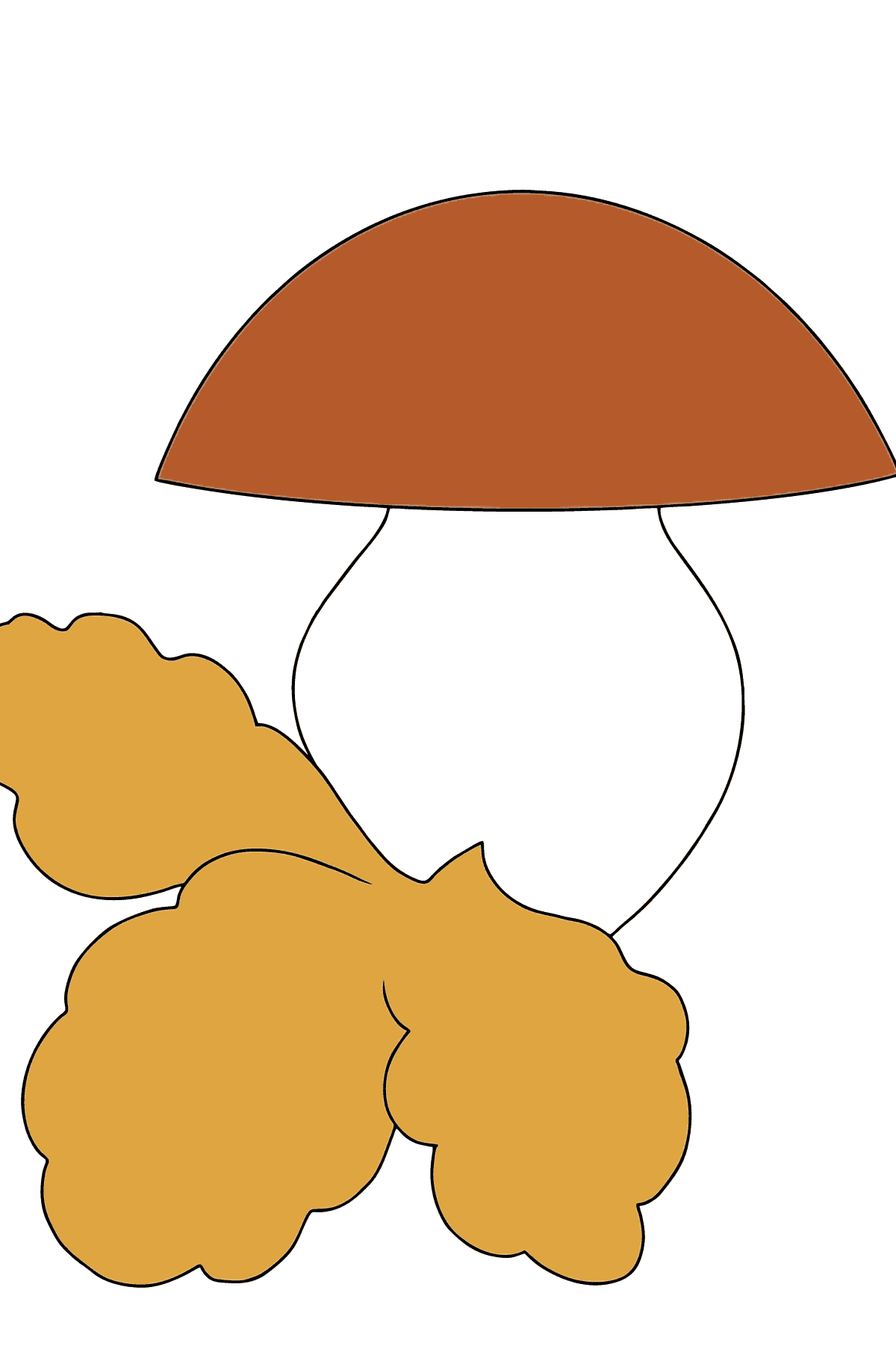 Autumn Coloring Page - Mushrooms in the Forest for Children
