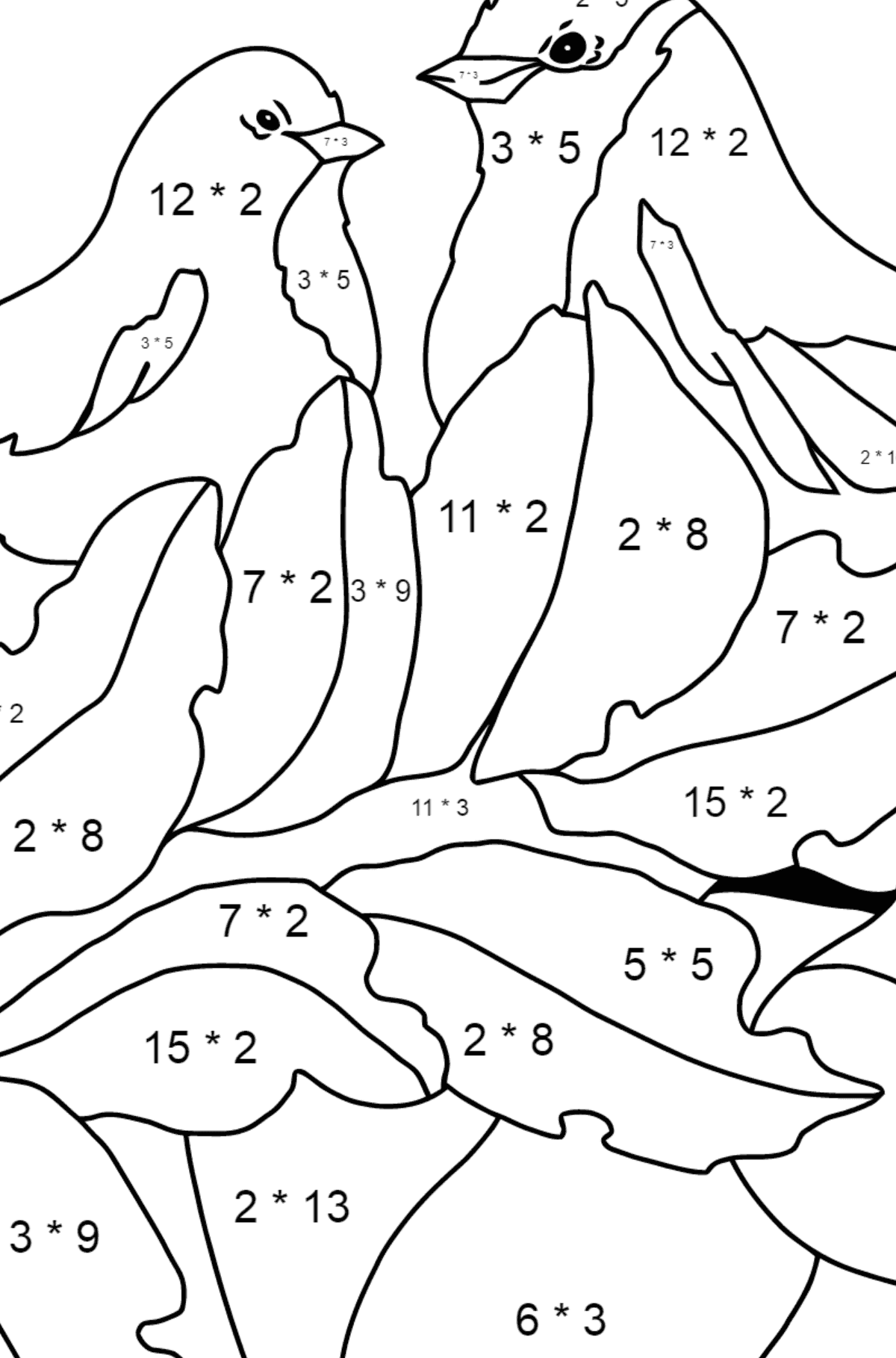 Autumn Coloring Page - Ripe Apples for Children  - Color by Number Multiplication