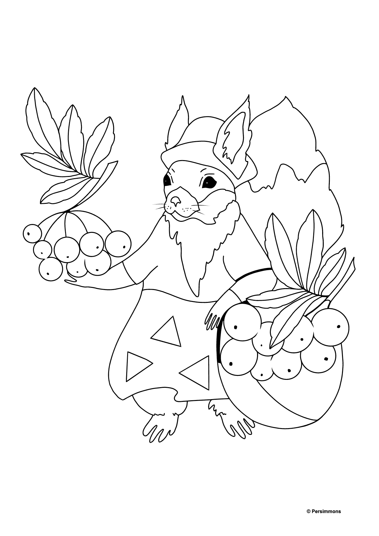 Autumn Coloring Page - Rowanberry Harvest Time for Kids