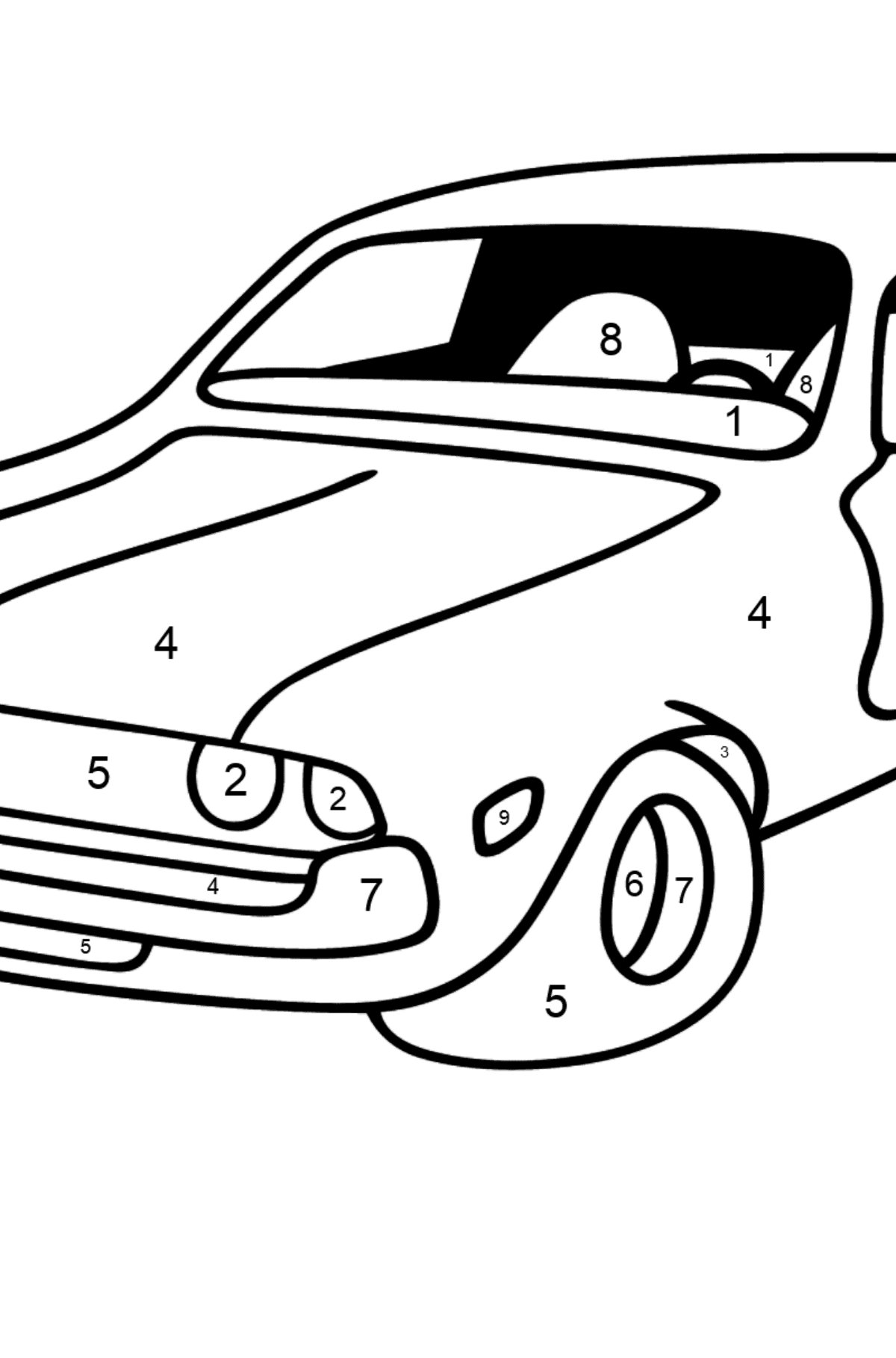 Chevrolet gray car coloring page - Coloring by Numbers for Kids