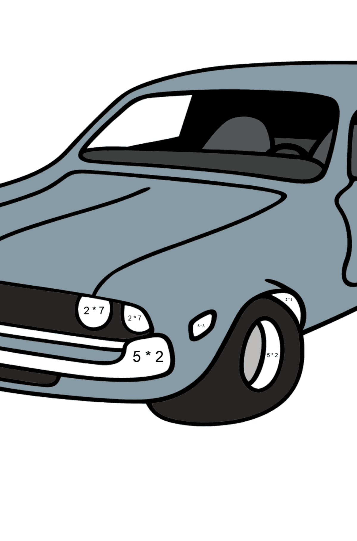 Chevrolet gray car coloring page - Math Coloring - Multiplication for Kids