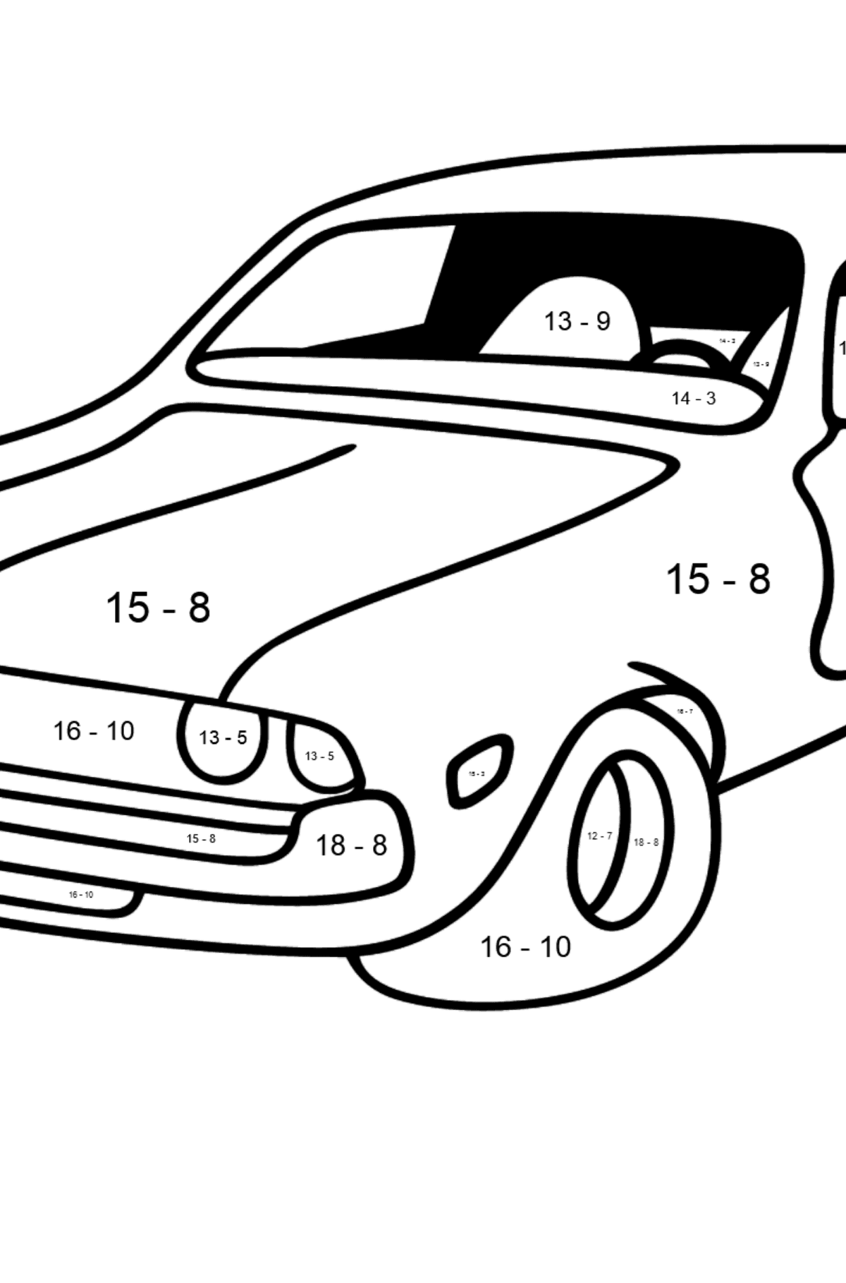 Chevrolet gray car coloring page - Math Coloring - Subtraction for Kids