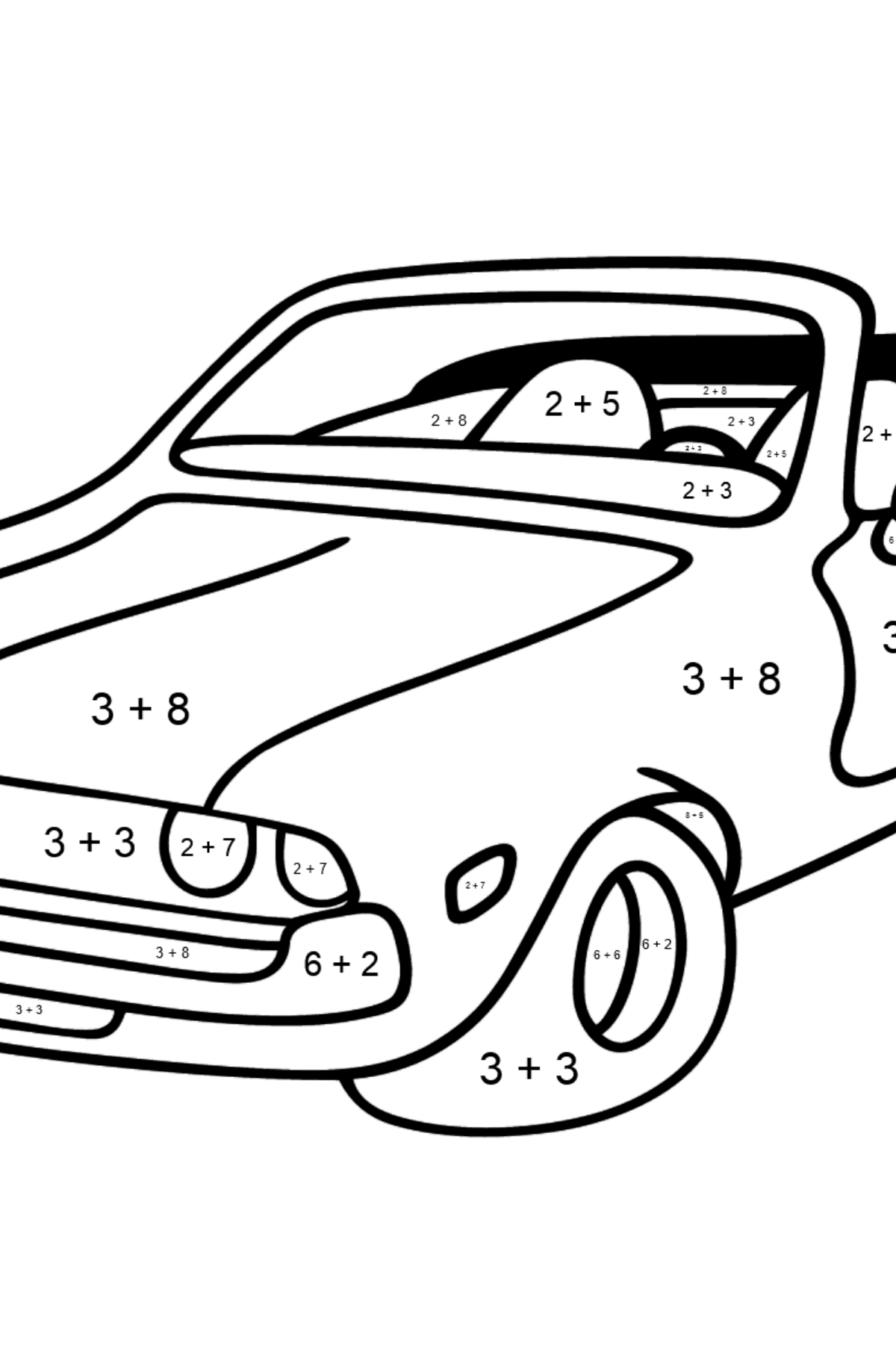 Open Top Cars coloring page - Math Coloring - Addition for Kids