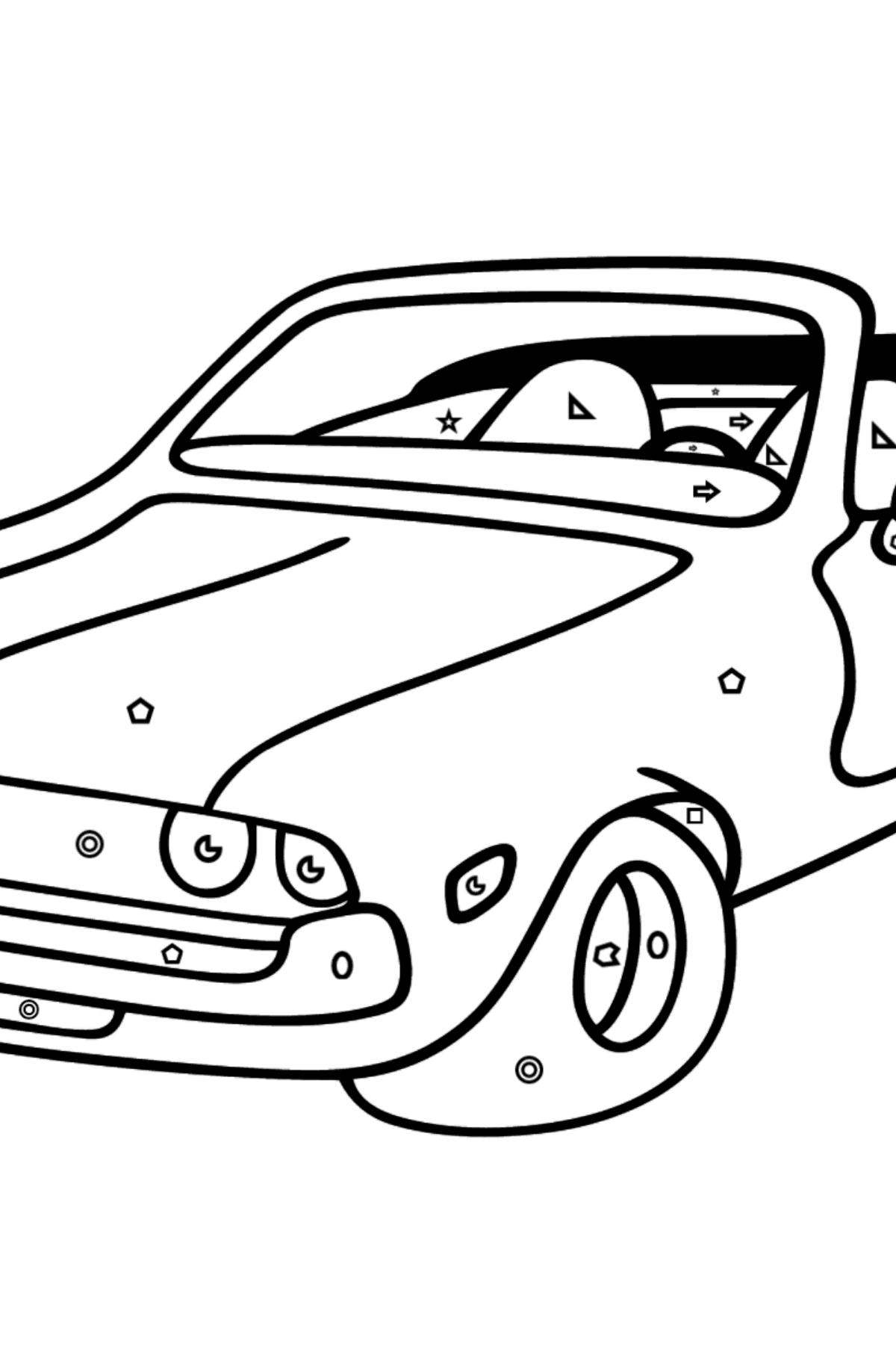 Open Top Cars coloring page - Coloring by Geometric Shapes for Kids