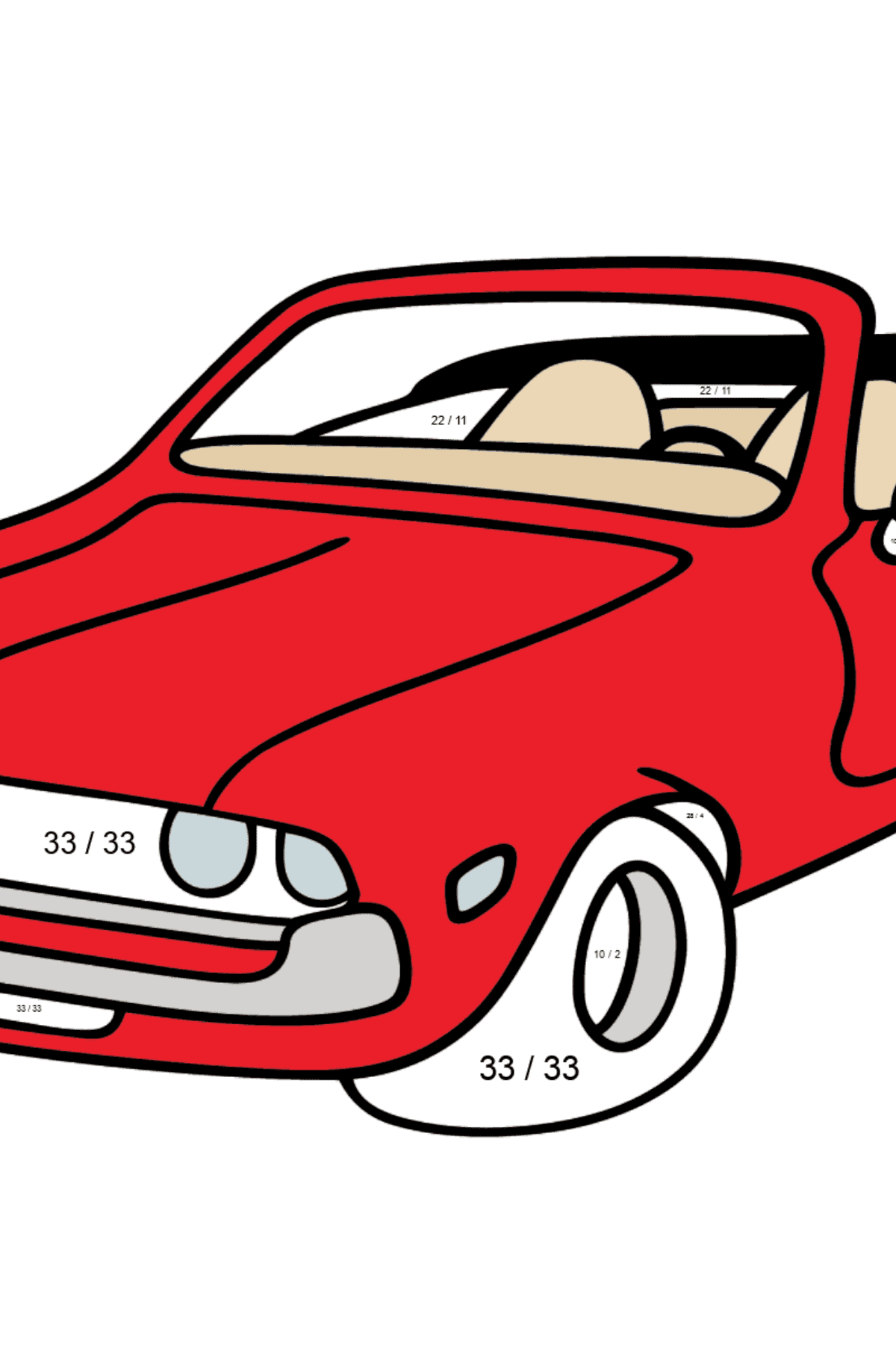 Open Top Cars coloring page - Math Coloring - Division for Kids