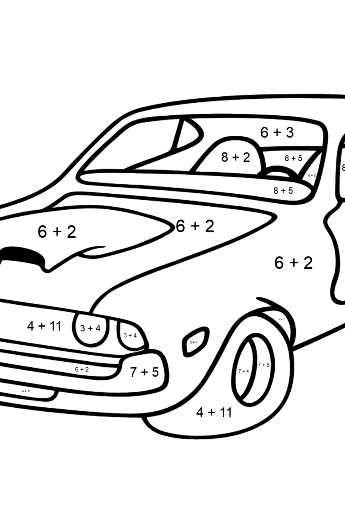 Chevrolet-Chevy Sports Car coloring page - Math Coloring - Addition for Kids