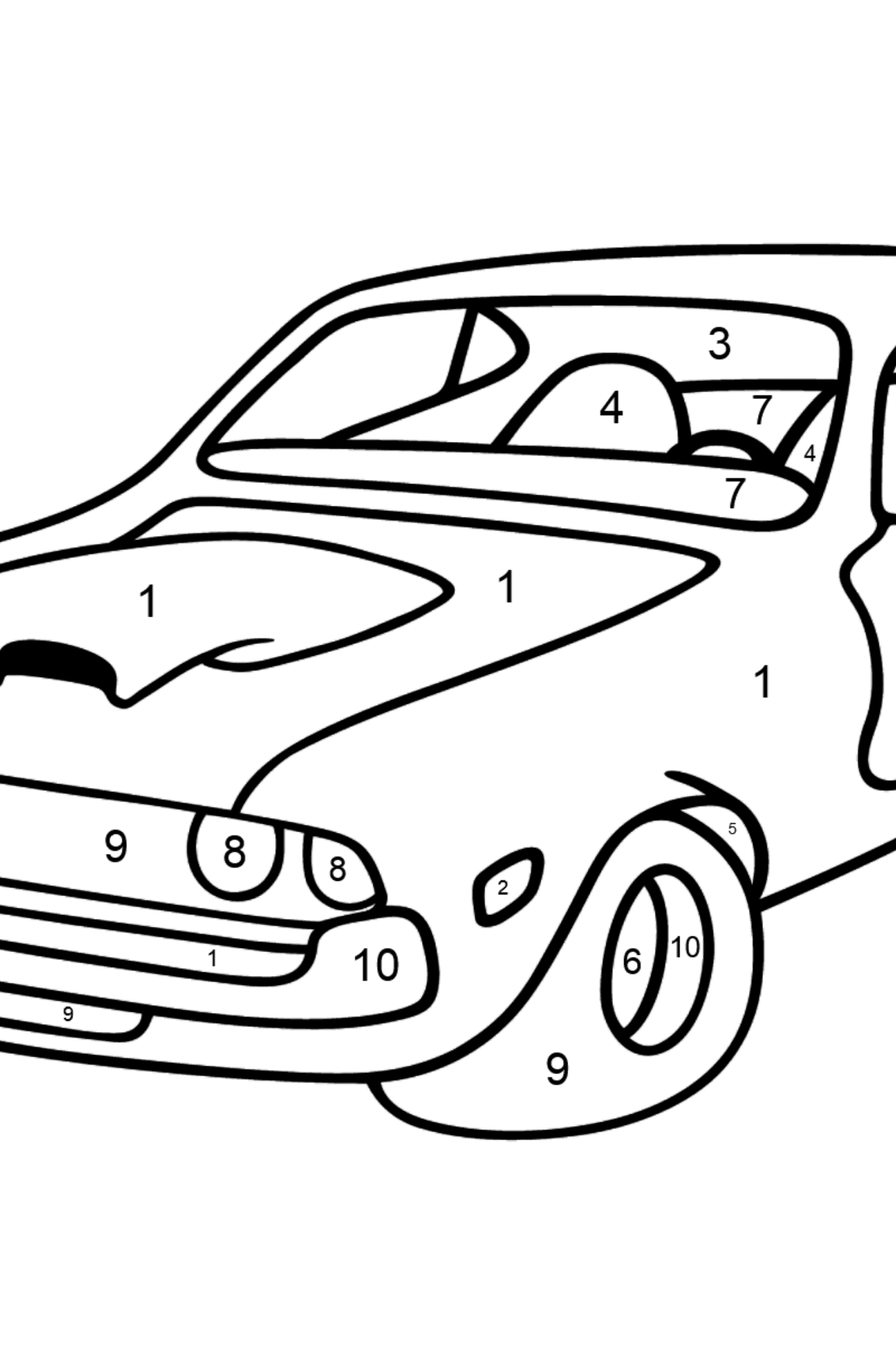 Chevrolet-Chevy Sports Car coloring page - Coloring by Numbers for Kids