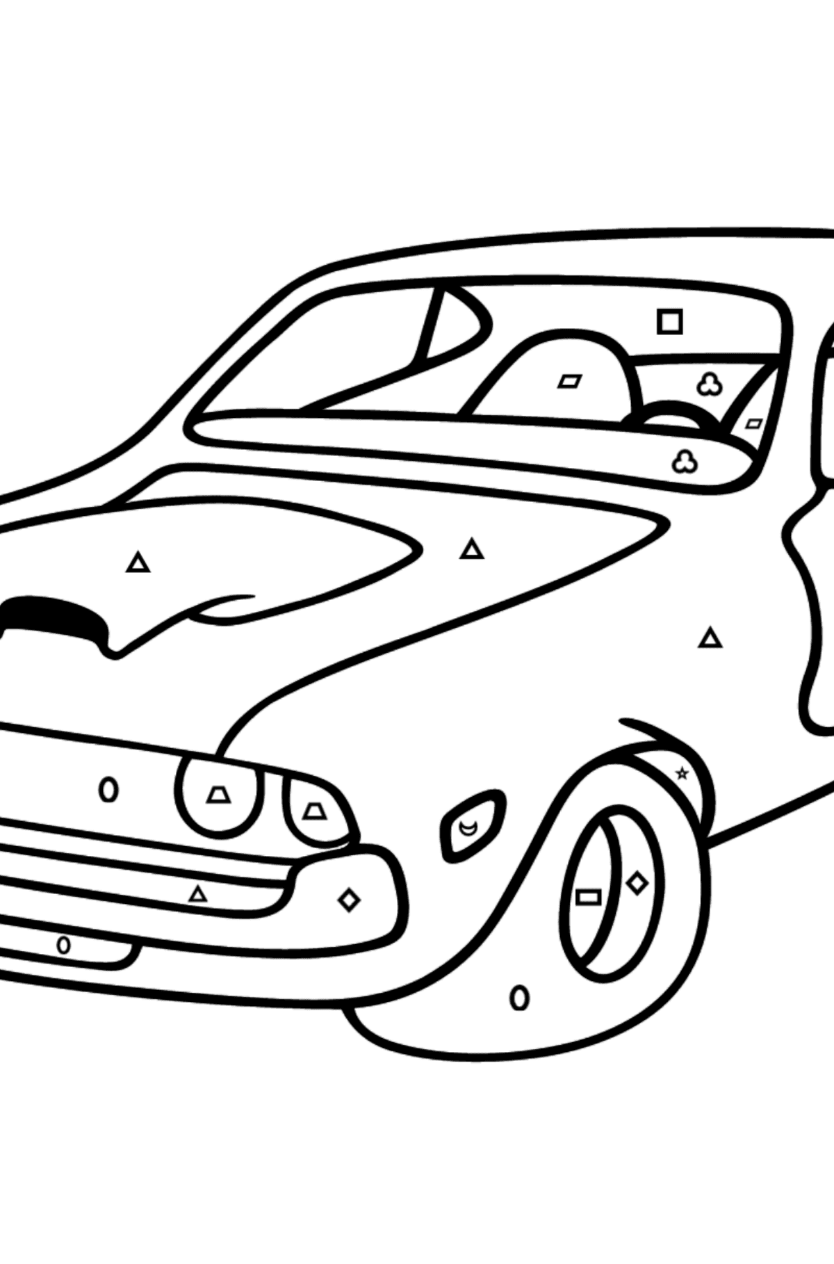 Chevrolet-Chevy Sports Car coloring page - Coloring by Geometric Shapes for Kids