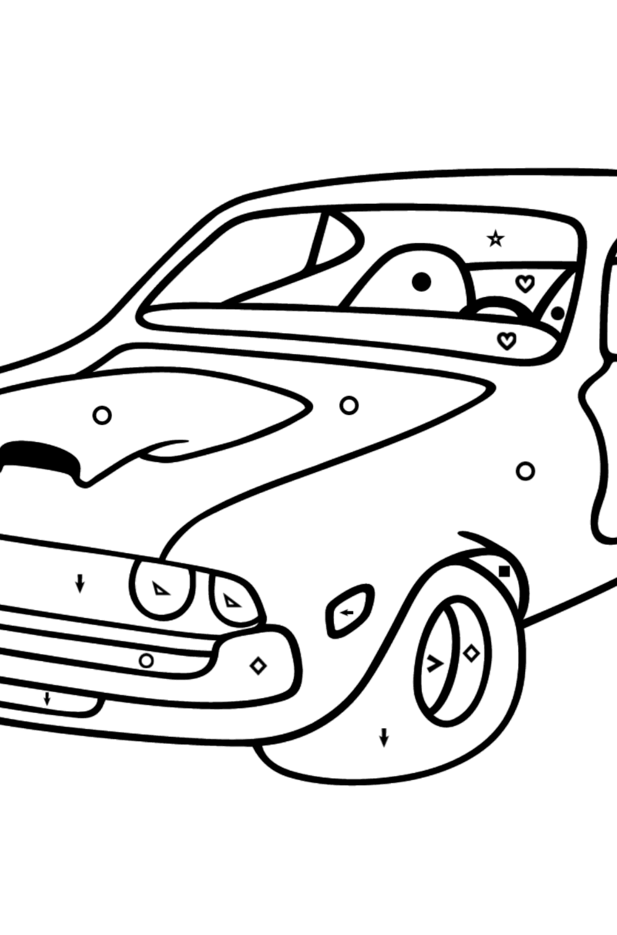 Chevrolet-Chevy Sports Car coloring page - Coloring by Symbols and Geometric Shapes for Kids