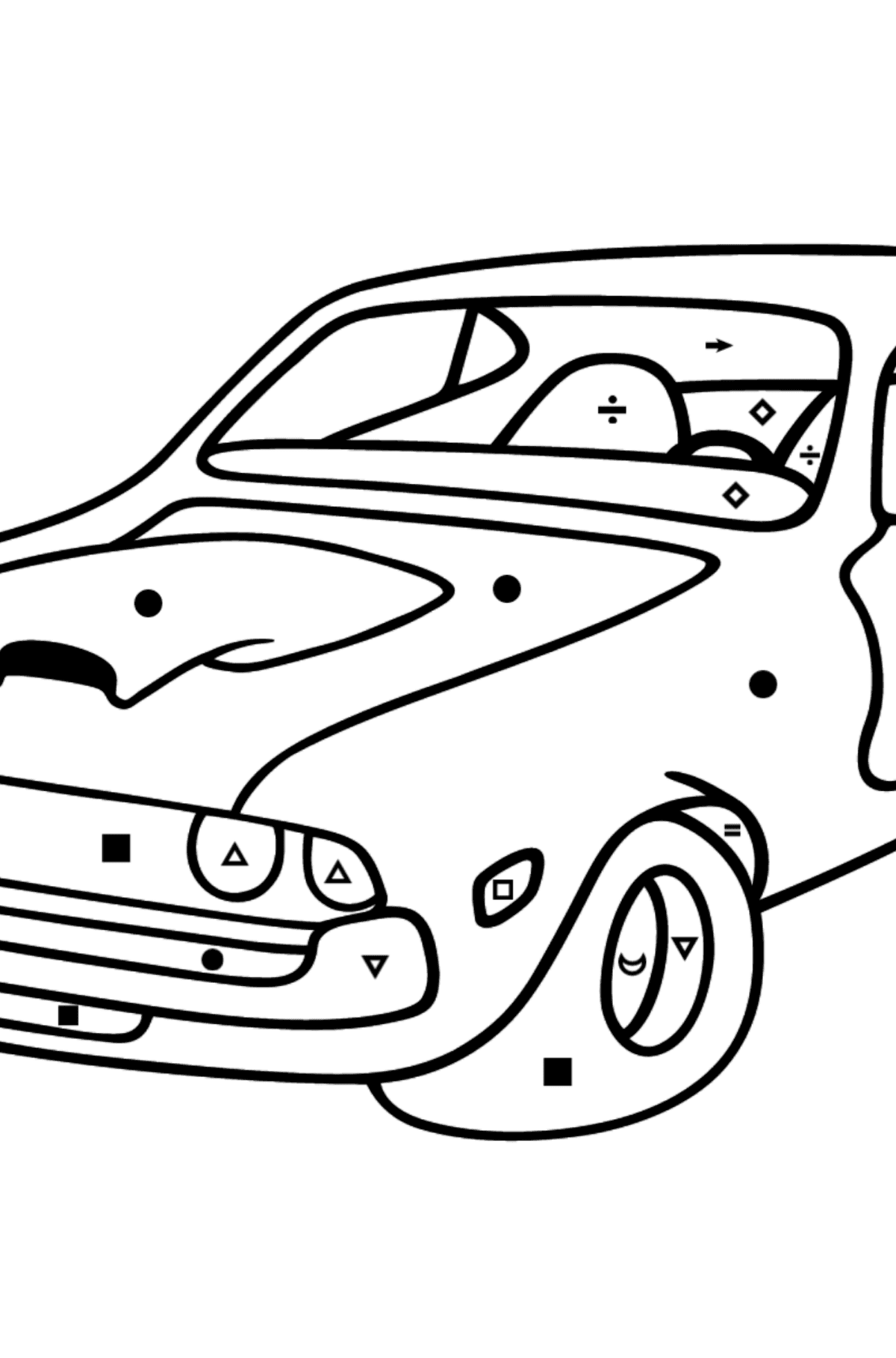 Chevrolet-Chevy Sports Car coloring page - Coloring by Symbols for Kids
