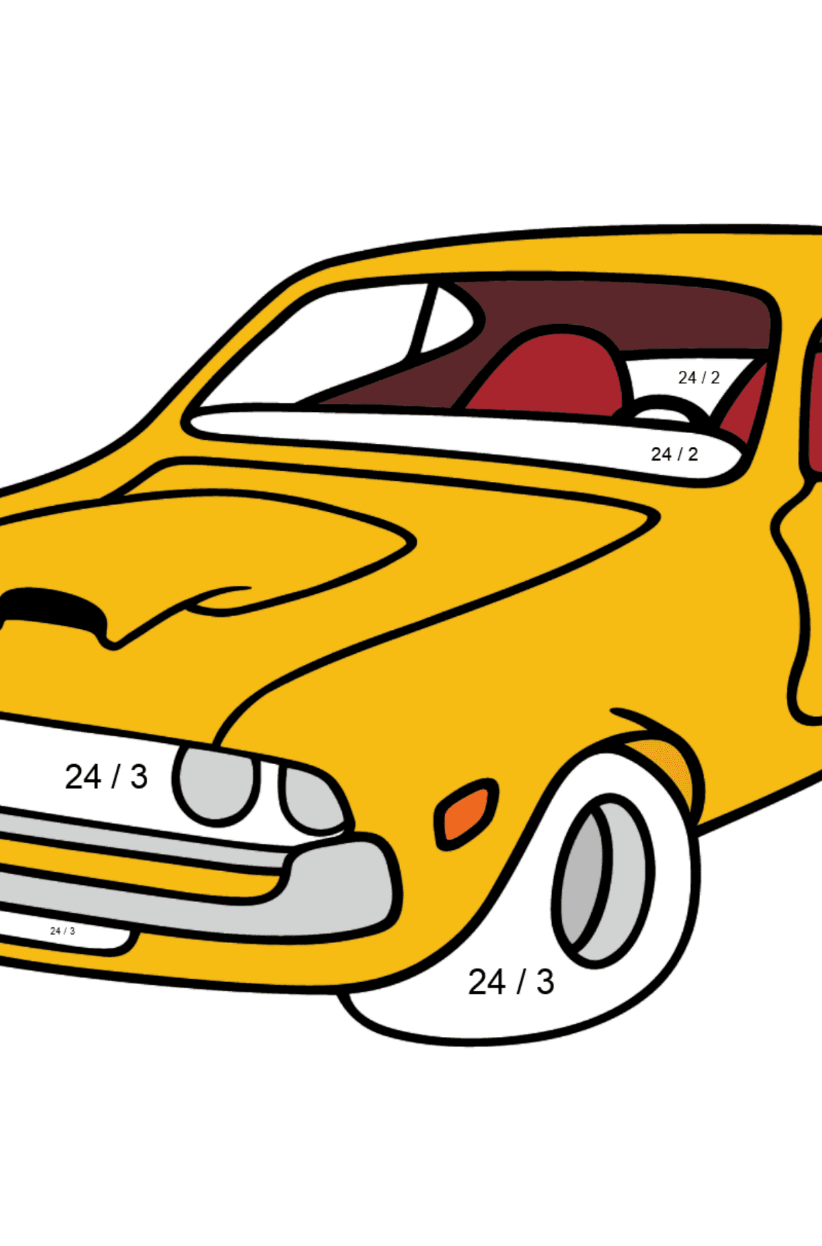 Chevrolet-Chevy Sports Car coloring page - Math Coloring - Division for Kids