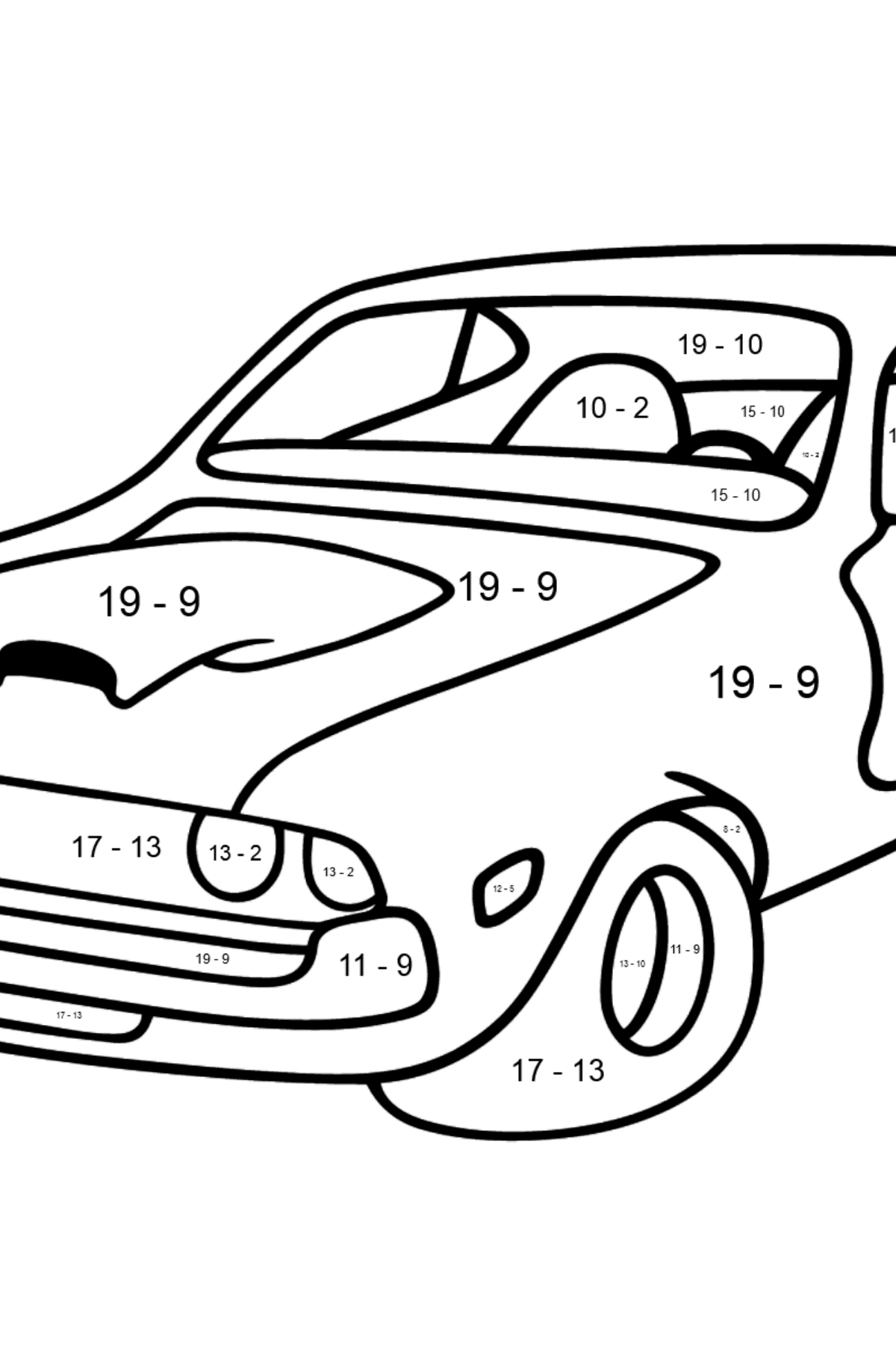 Chevrolet-Chevy Sports Car coloring page - Math Coloring - Subtraction for Kids