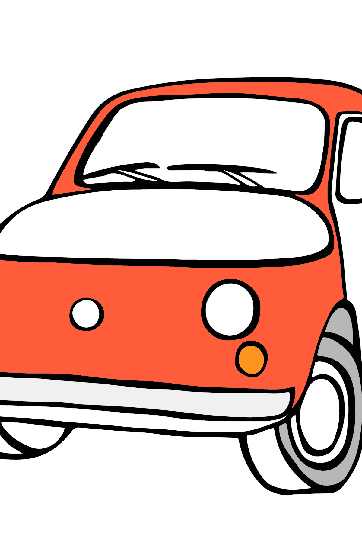 Fiat 500 (red car) coloring page - Coloring Pages for Kids