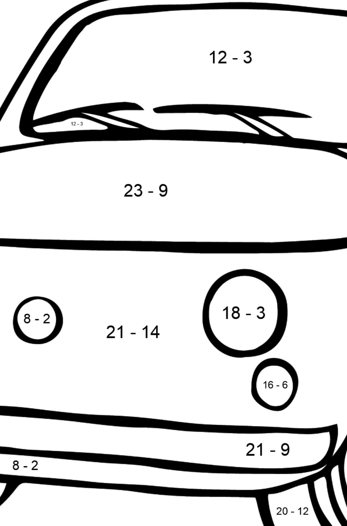 Fiat 500 (red car) coloring page - Math Coloring - Subtraction for Kids