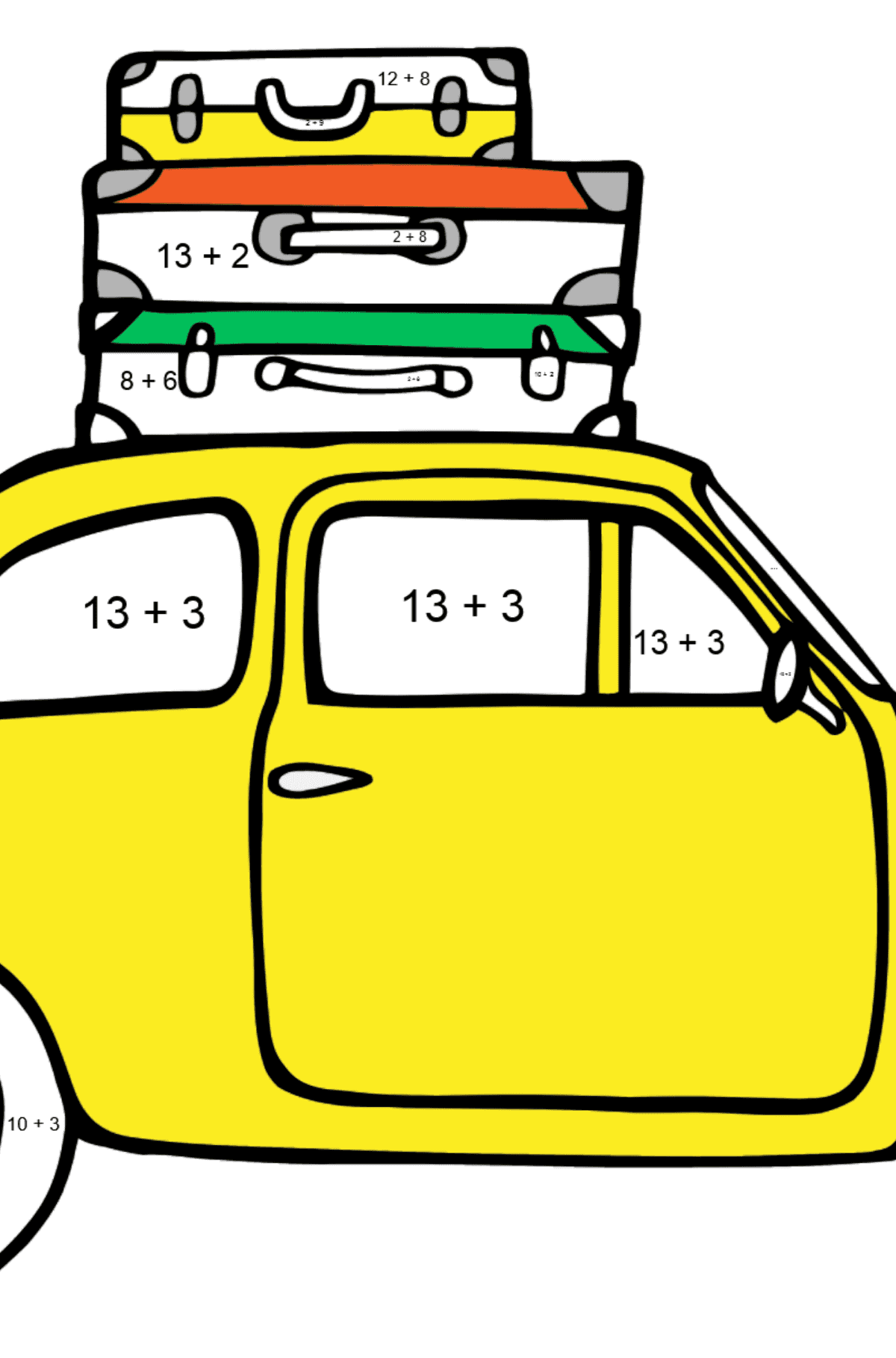 Fiat 600 car coloring page - Math Coloring - Addition for Kids