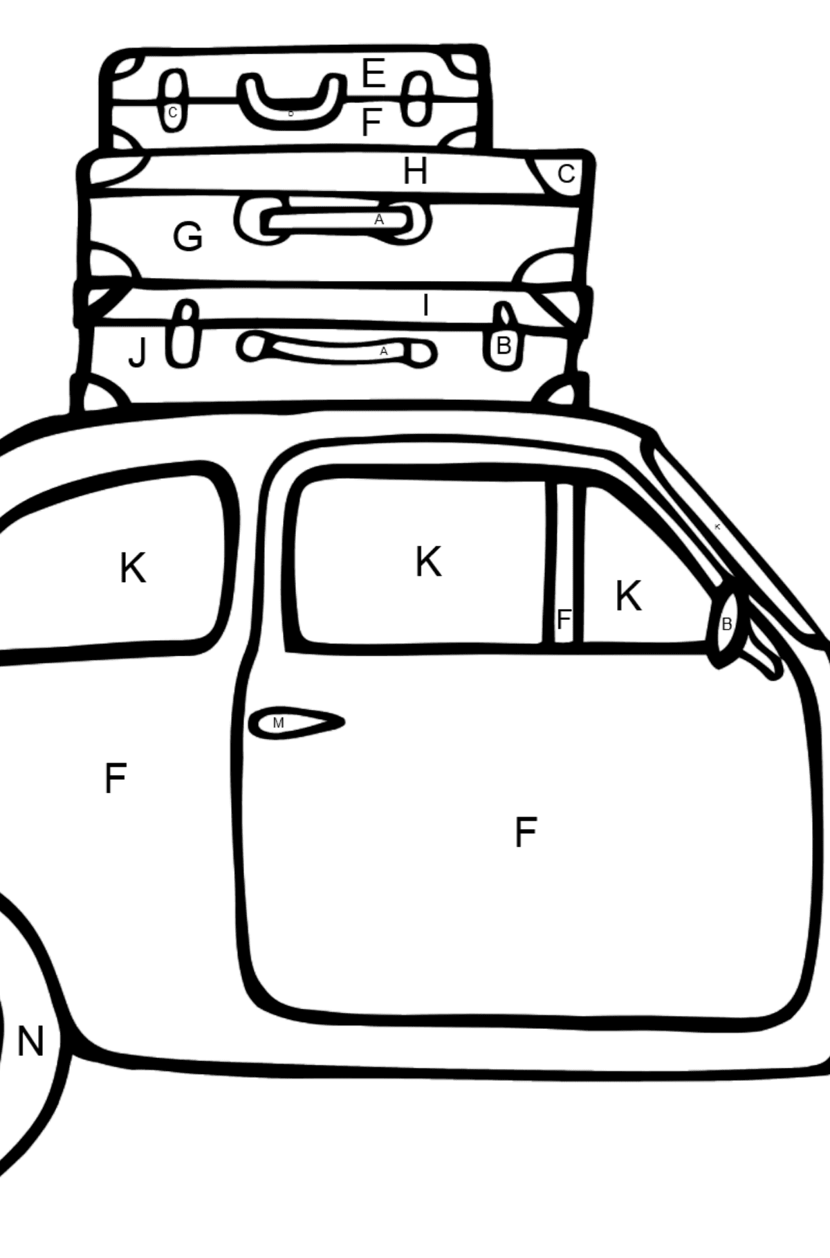 Fiat 600 car coloring page - Coloring by Letters for Kids