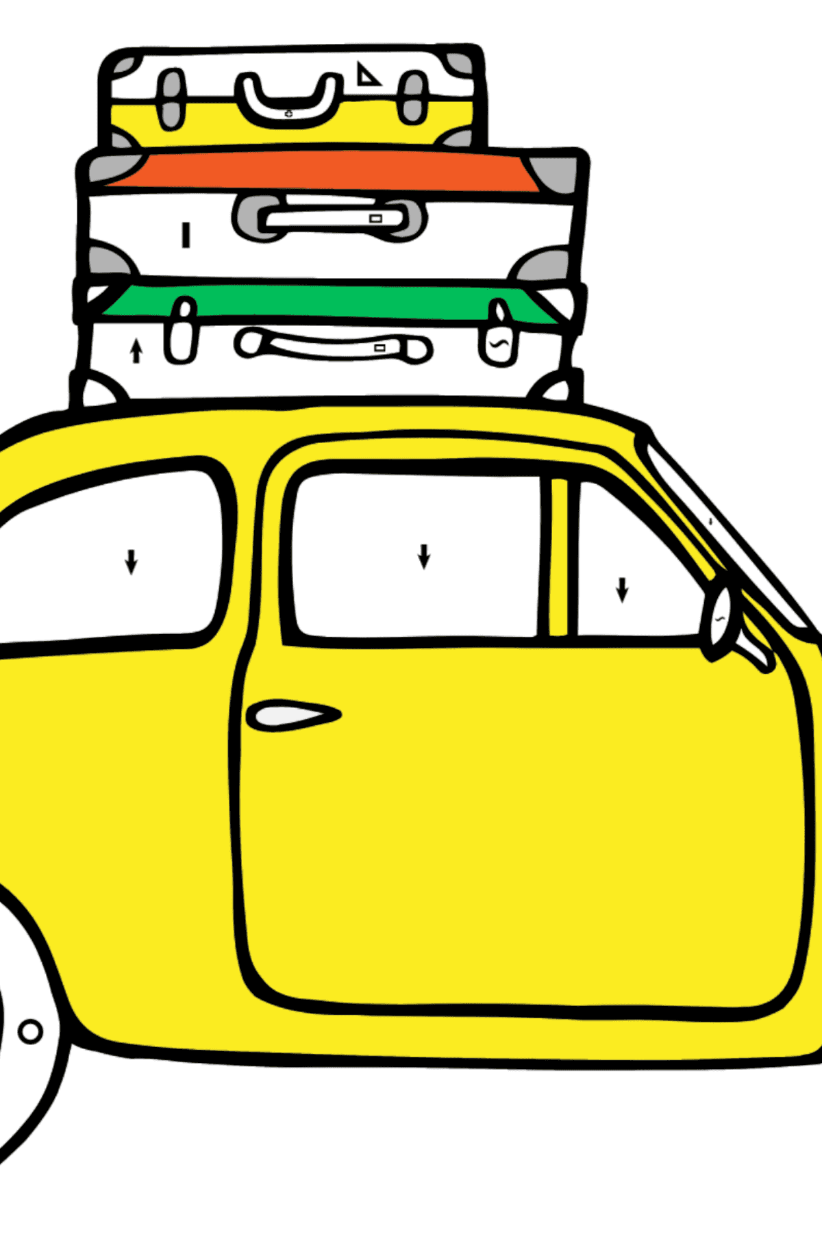 Fiat 500 car coloring page - Coloring by Symbols and Geometric Shapes for Kids