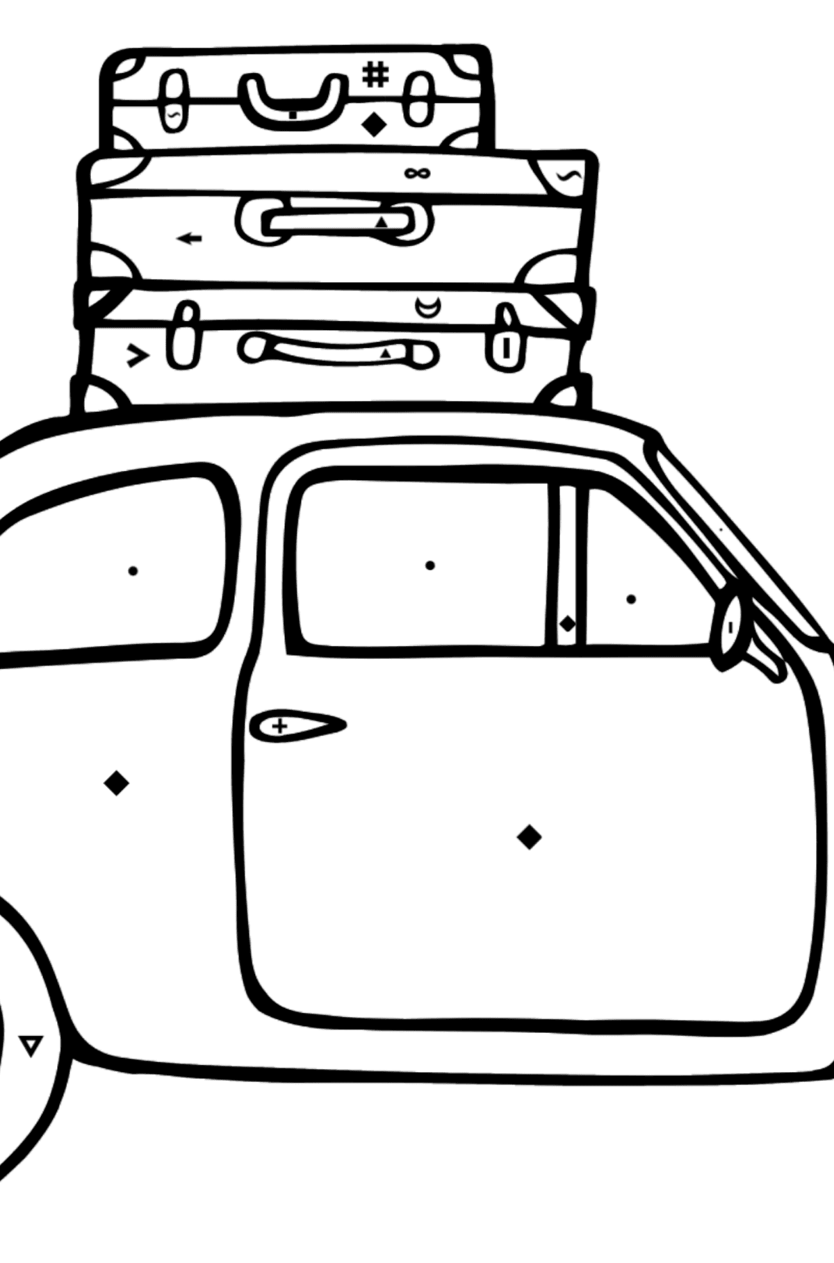 Fiat 600 car coloring page - Coloring by Symbols for Kids