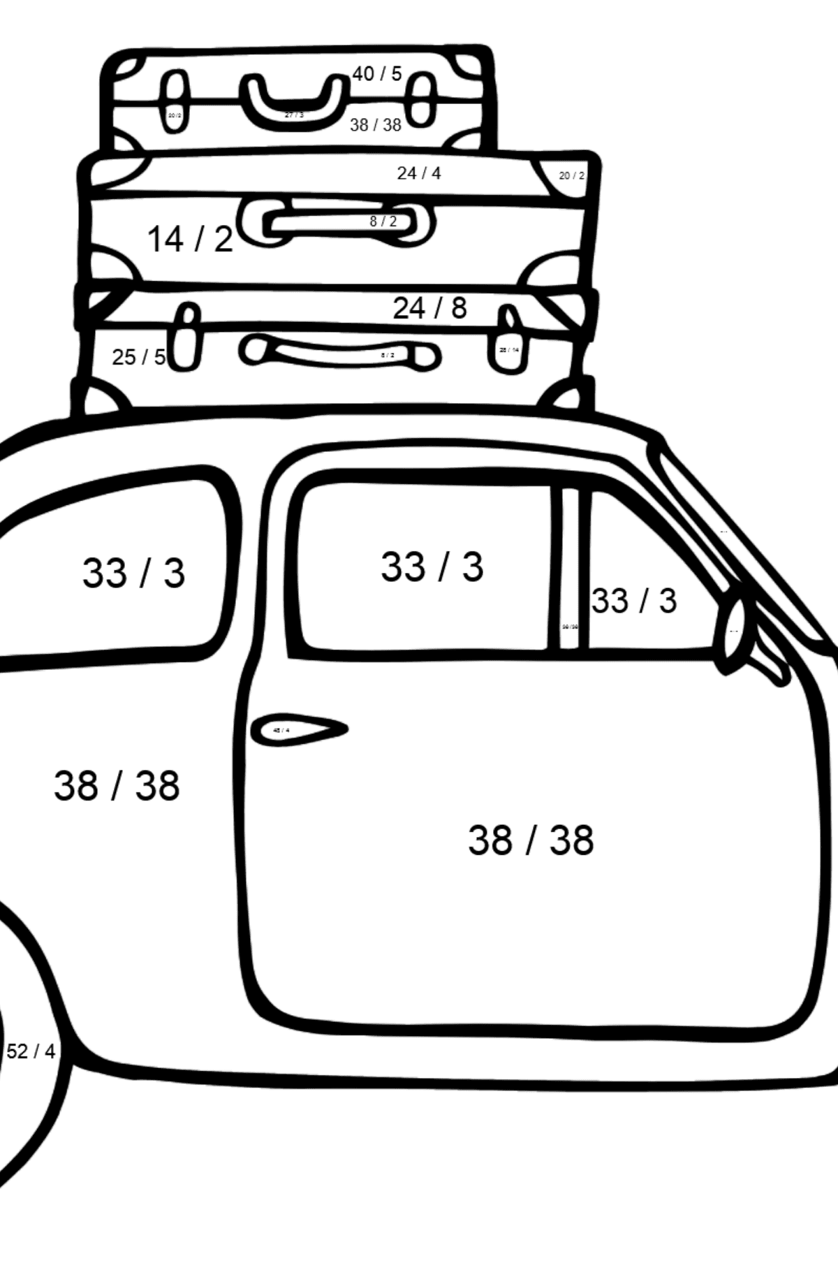 Fiat 600 car coloring page - Math Coloring - Division for Kids