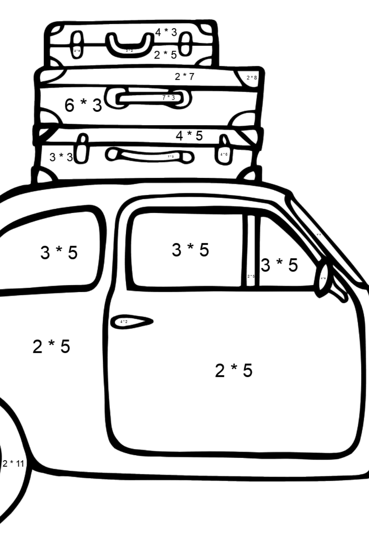 Fiat 600 car coloring page - Math Coloring - Multiplication for Kids